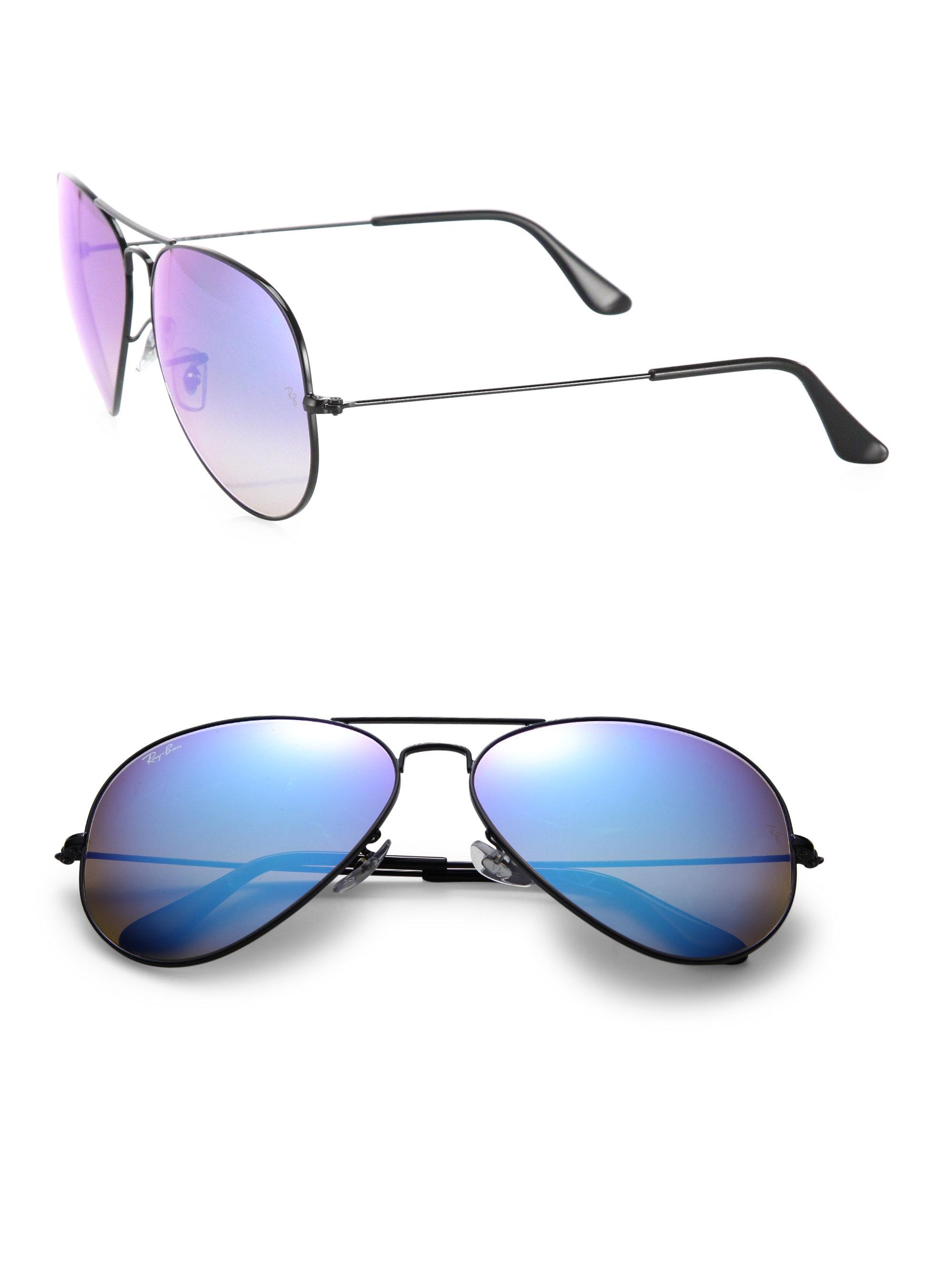 Ray Ban Mirror Aviator Sunglasses  ray ban metal mirrored aviator sunglasses in blue for men lyst