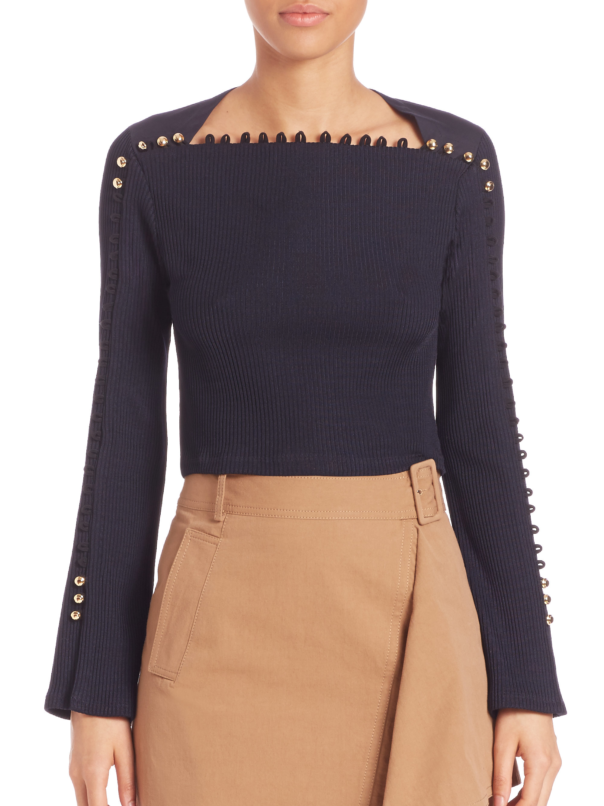 65552b747ba99 Lyst - 3.1 Phillip Lim Button-detail Ribbed Top in Blue