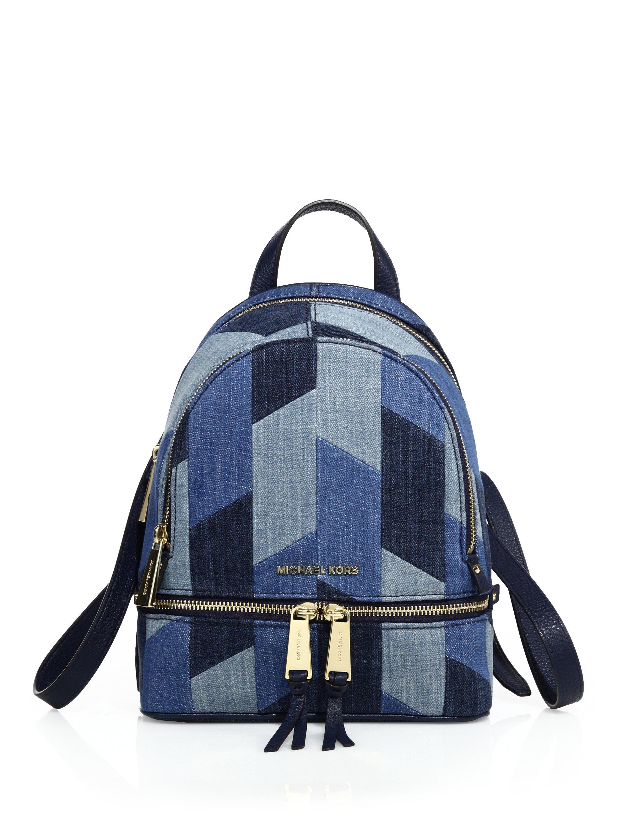 8018406757269f MICHAEL Michael Kors Rhea Mosaic Patchwork Denim Backpack in Blue - Lyst