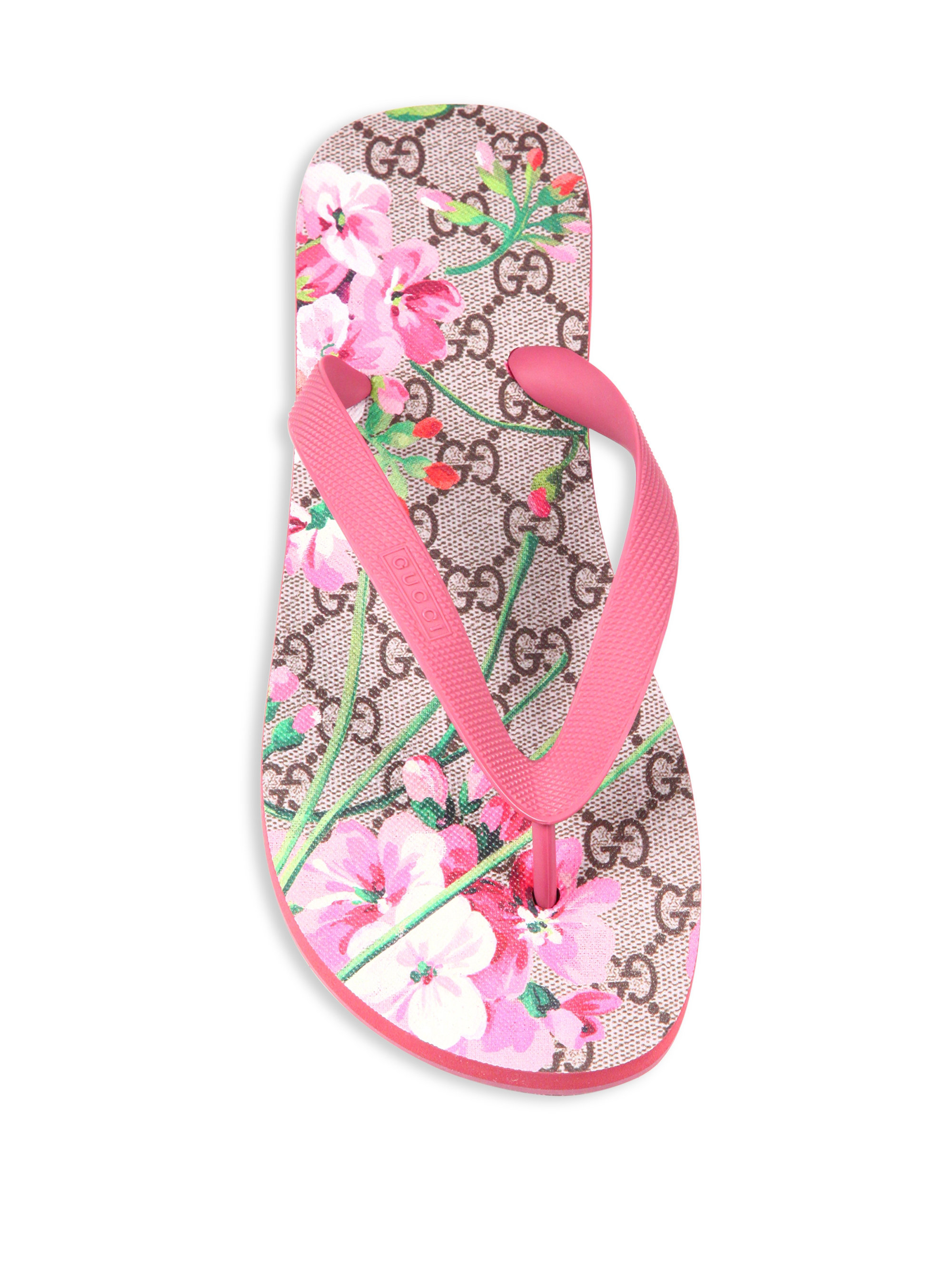 4a223a4577b752 Lyst - Gucci Gg Bloom Rubber Flip Flops in Pink
