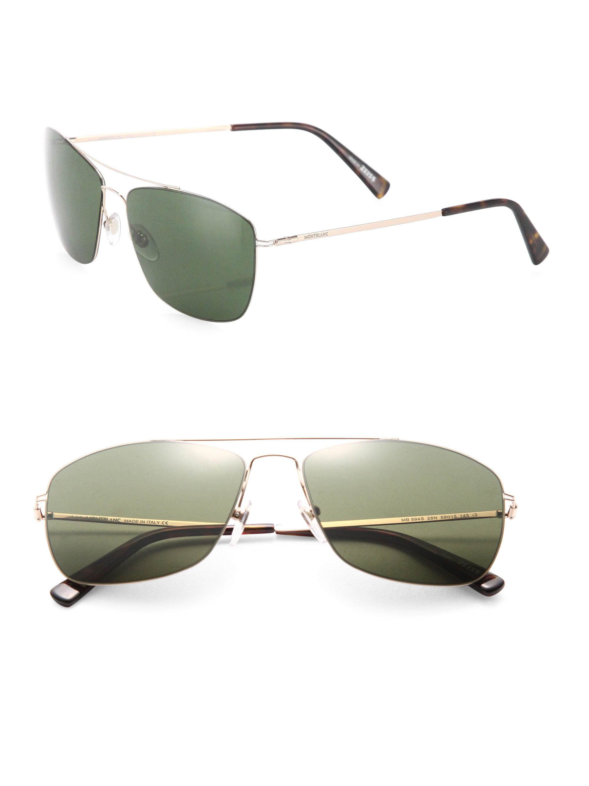 Thin Gold Frame Sunglasses : Montblanc Thin Frame 59mm Metal Sunglasses in Metallic for ...
