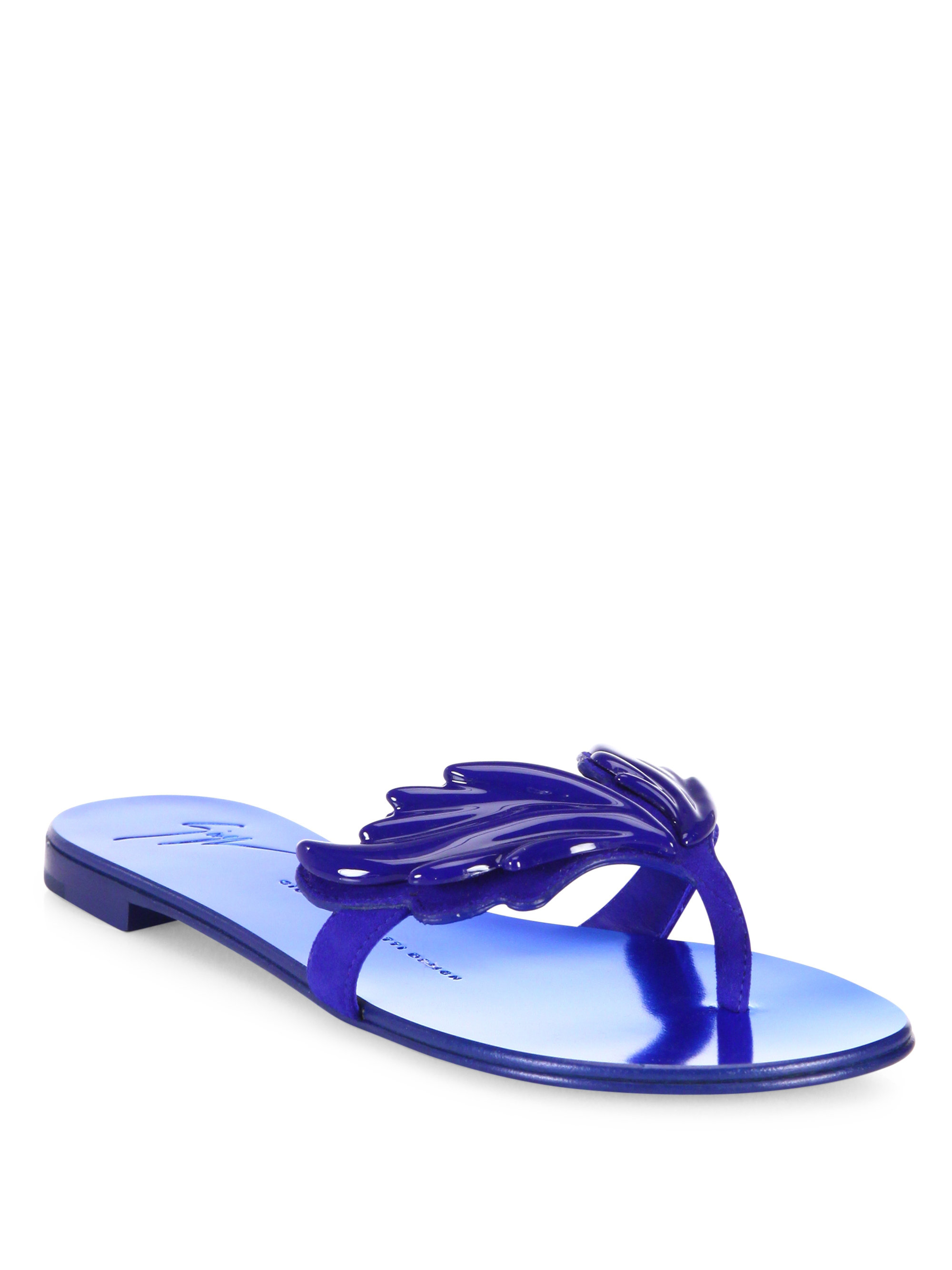 Giuseppe Zanotti Suede Wing Thong Sandals In Blue Lyst