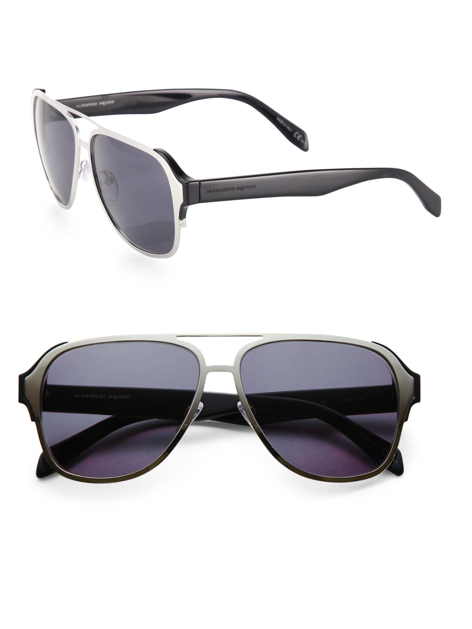 Lyst Alexander Mcqueen 58mm Square Pilot Sunglasses In