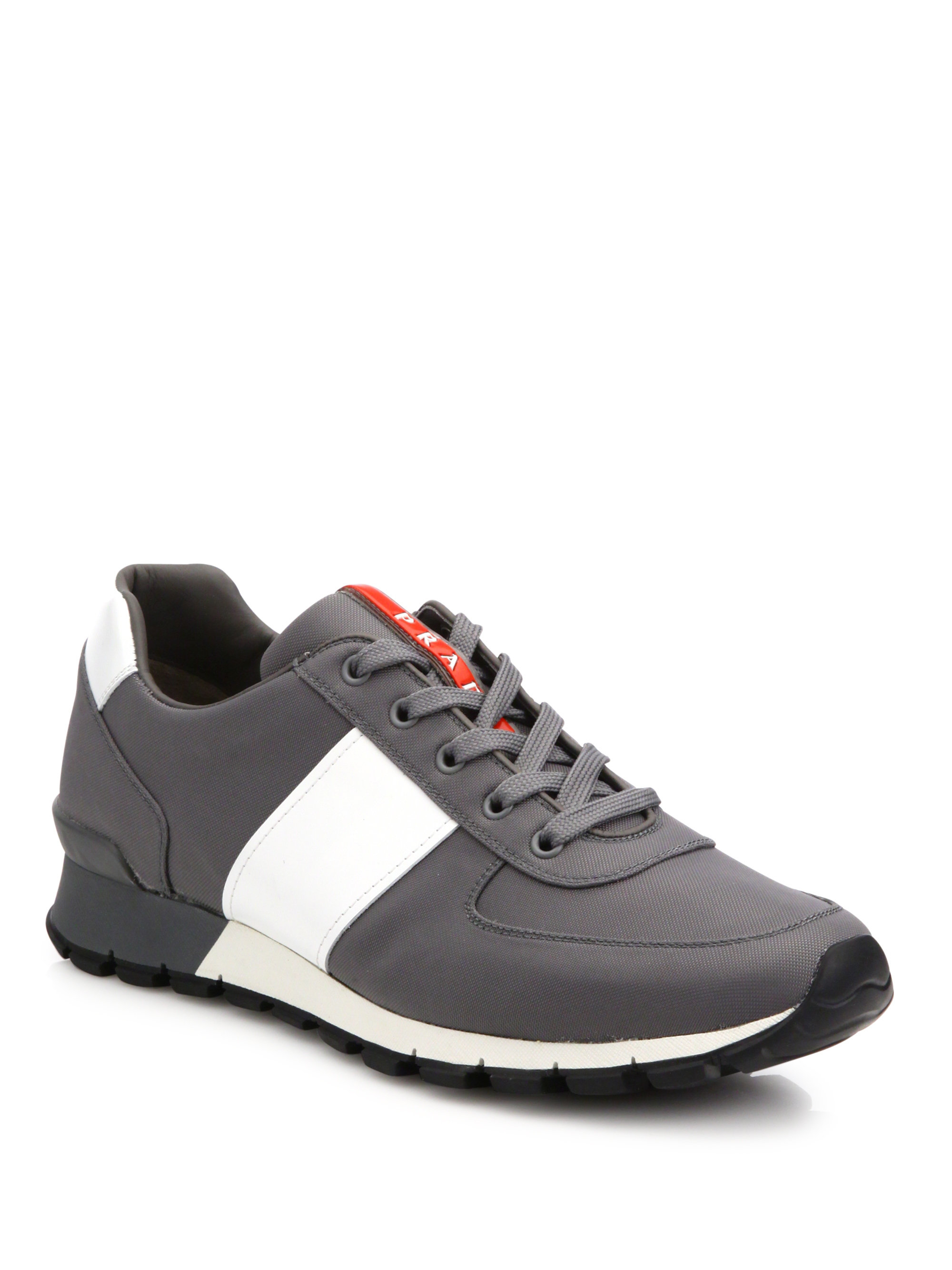 Prada Spazzolato Trainer Sneakers in Gray for Men | Lyst