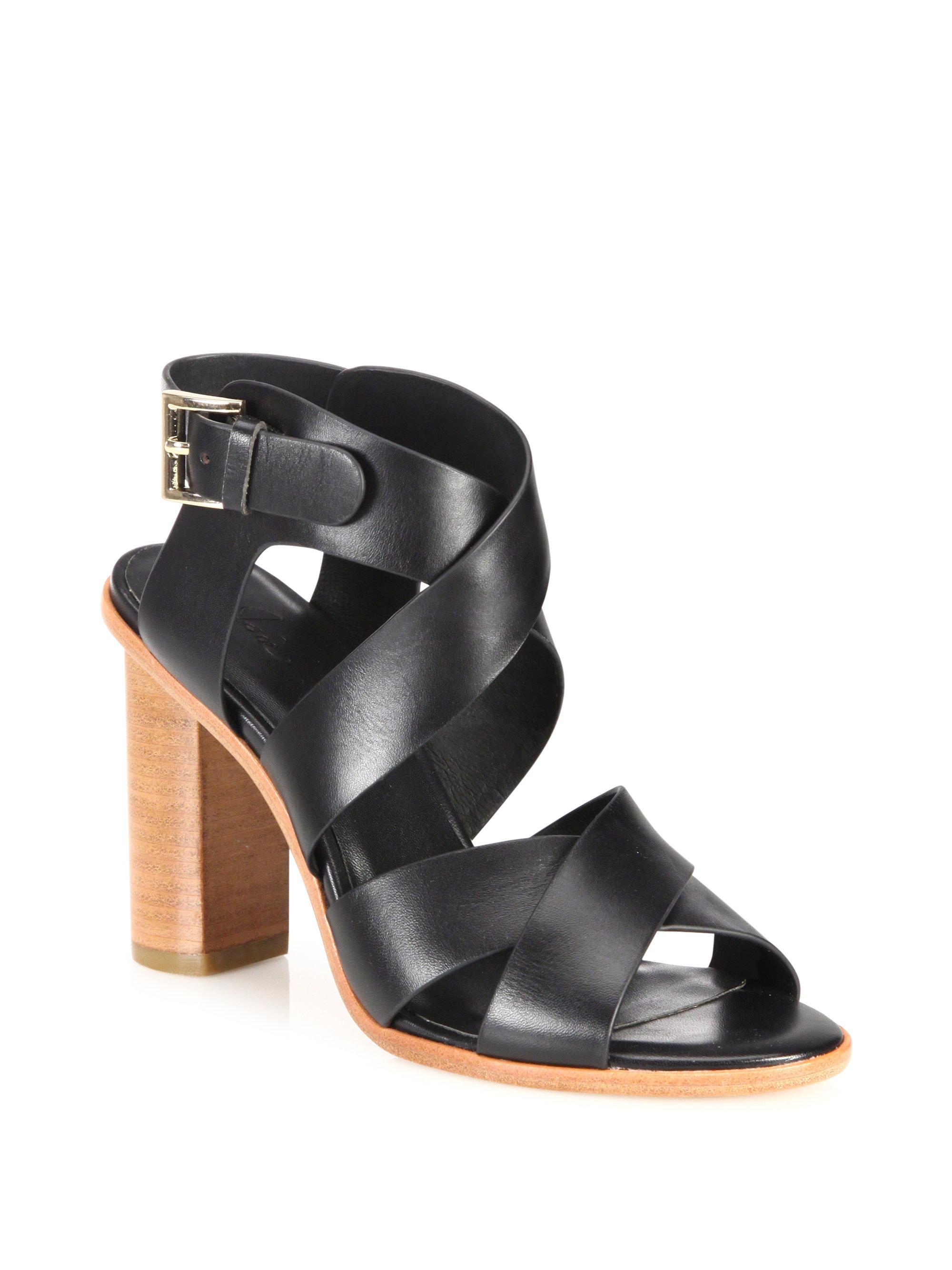 Lyst Joie Avery Crisscross Leather Block Heel Sandals In