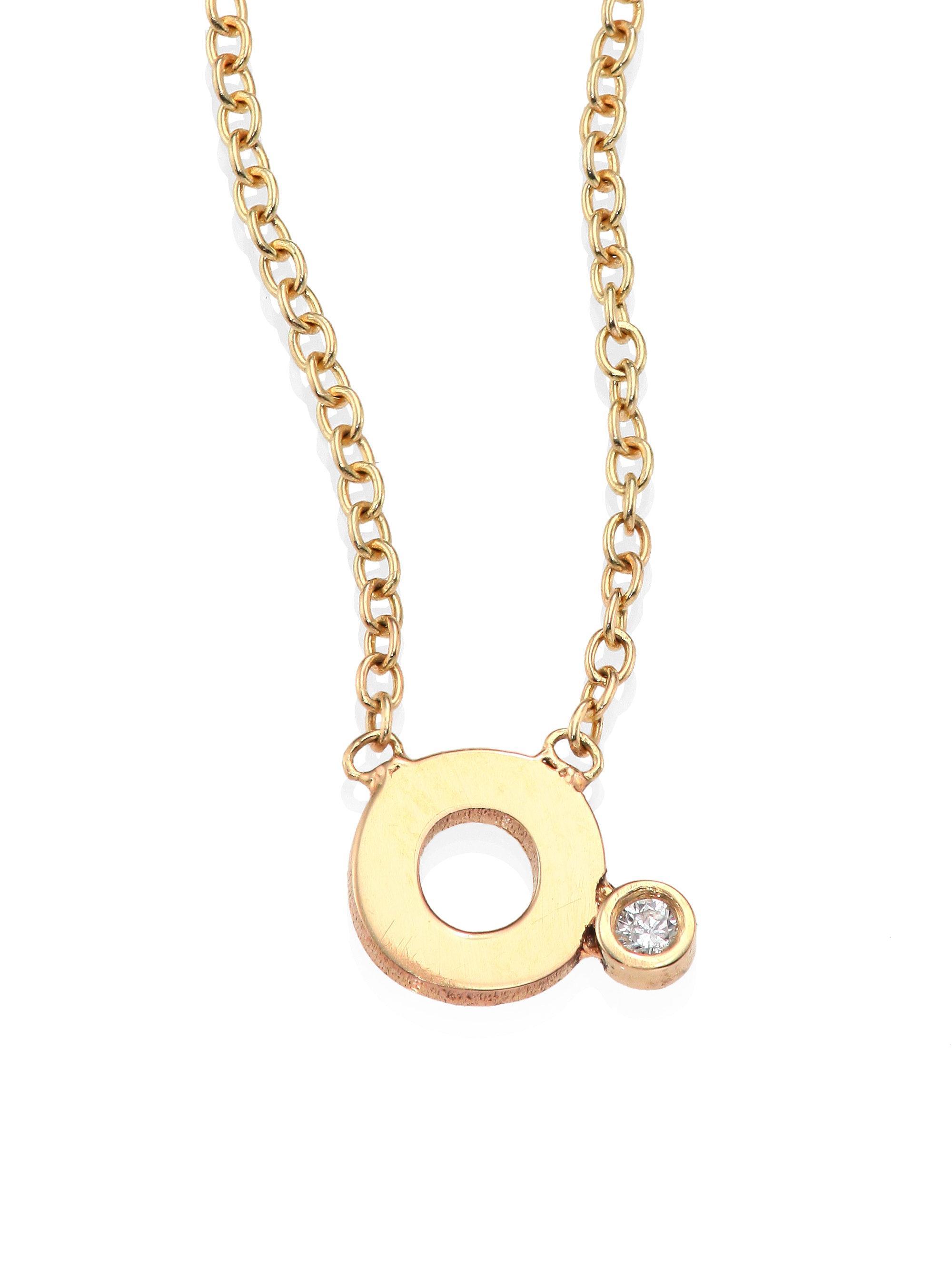 zoe chicco diamond 14k yellow gold initial pendant