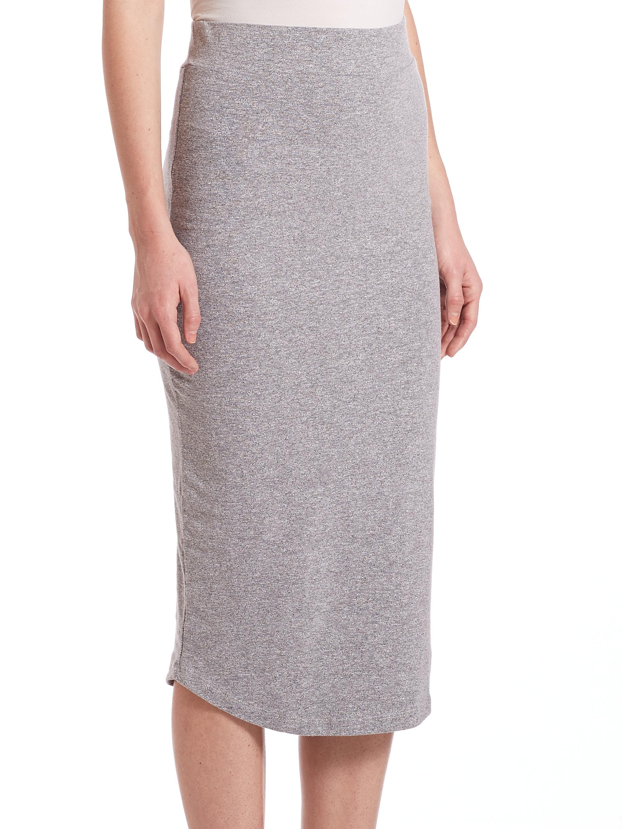 monrow midi length pencil skirt in gray lyst