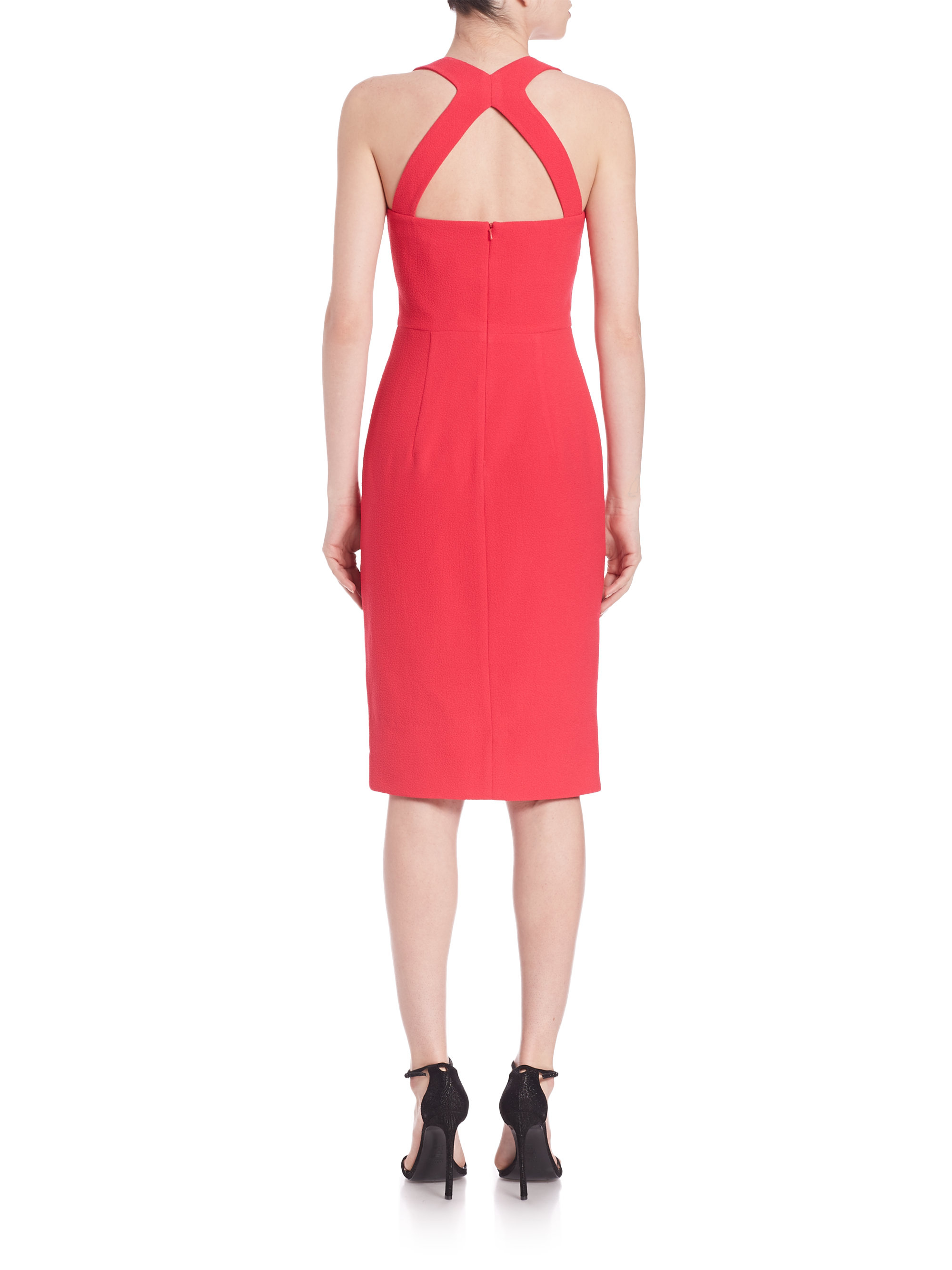 Black halo lopez sheath dress in red lyst for Saks fifth avenue wedding guest dresses