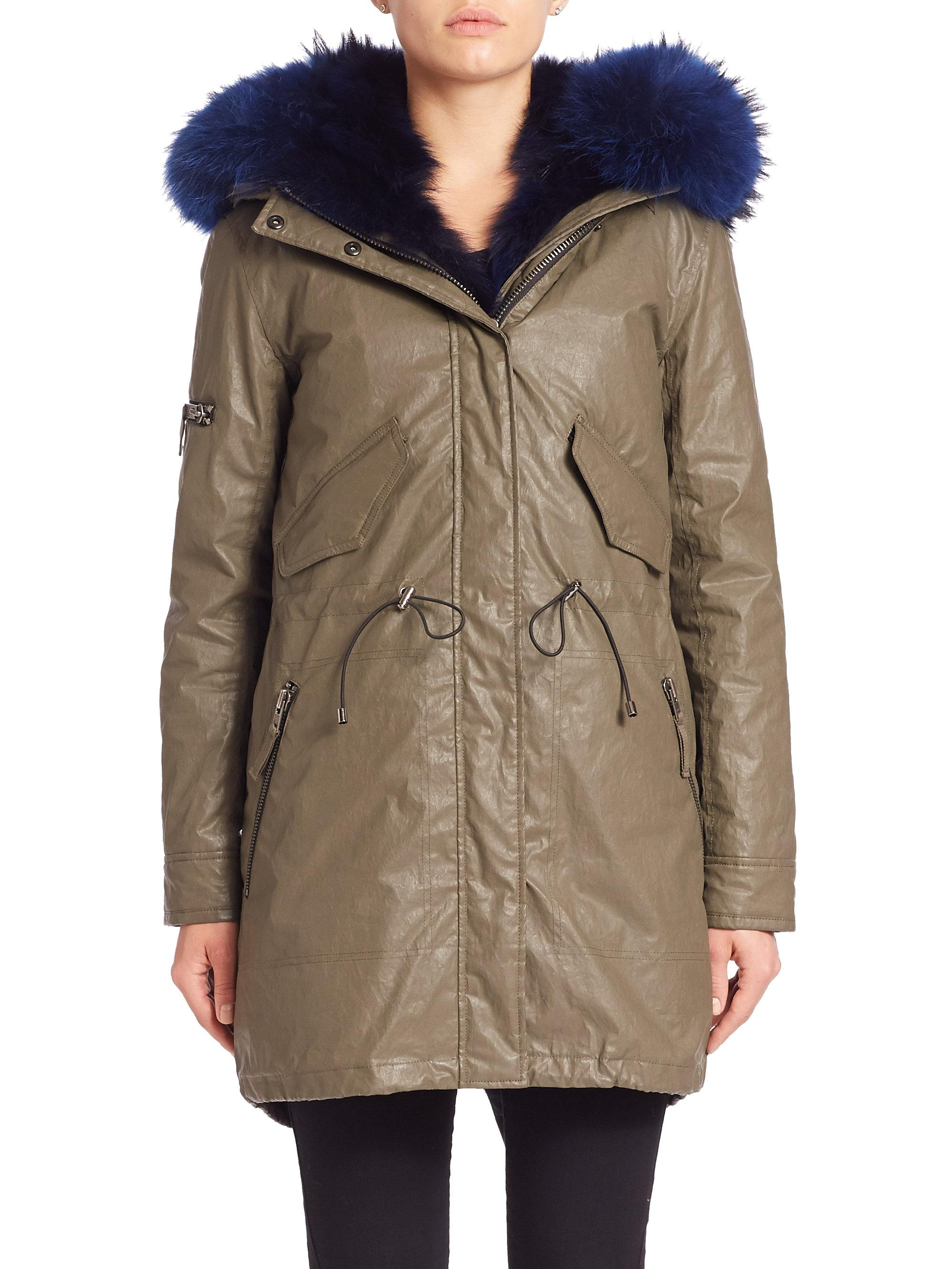 Sam. Fox Fur-lined Parka in Blue | Lyst