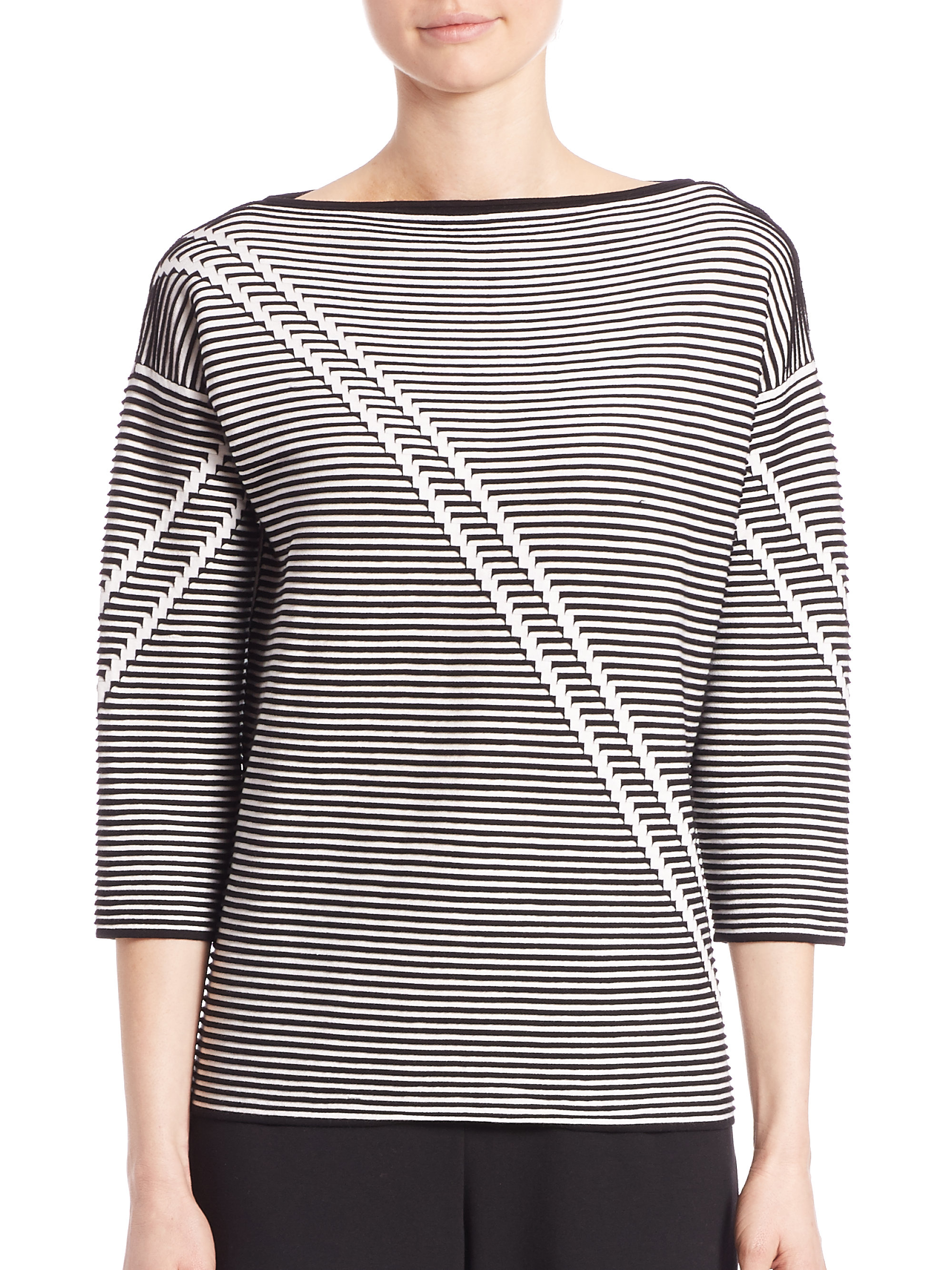 lafayette 148 new york white two tone crepe jacquard sweater lyst