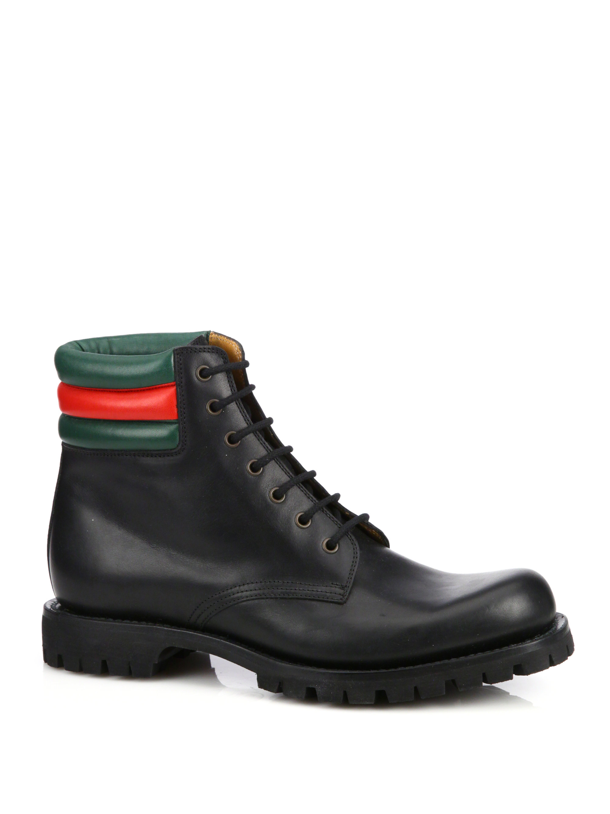 gucci marland leather laceup boots in black for men lyst