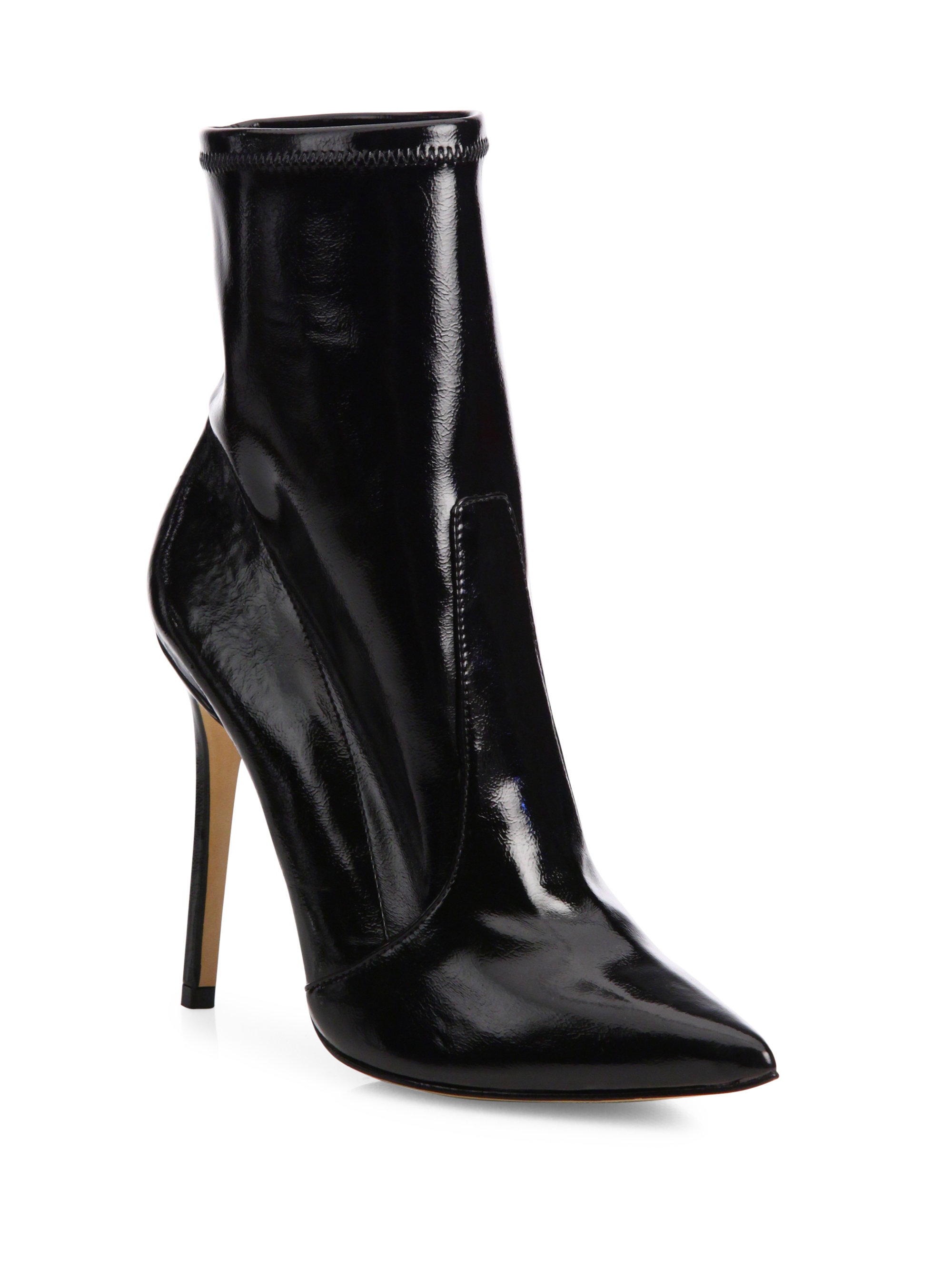 Schutz Brunny Patent Leather Point Toe Booties In Black Lyst