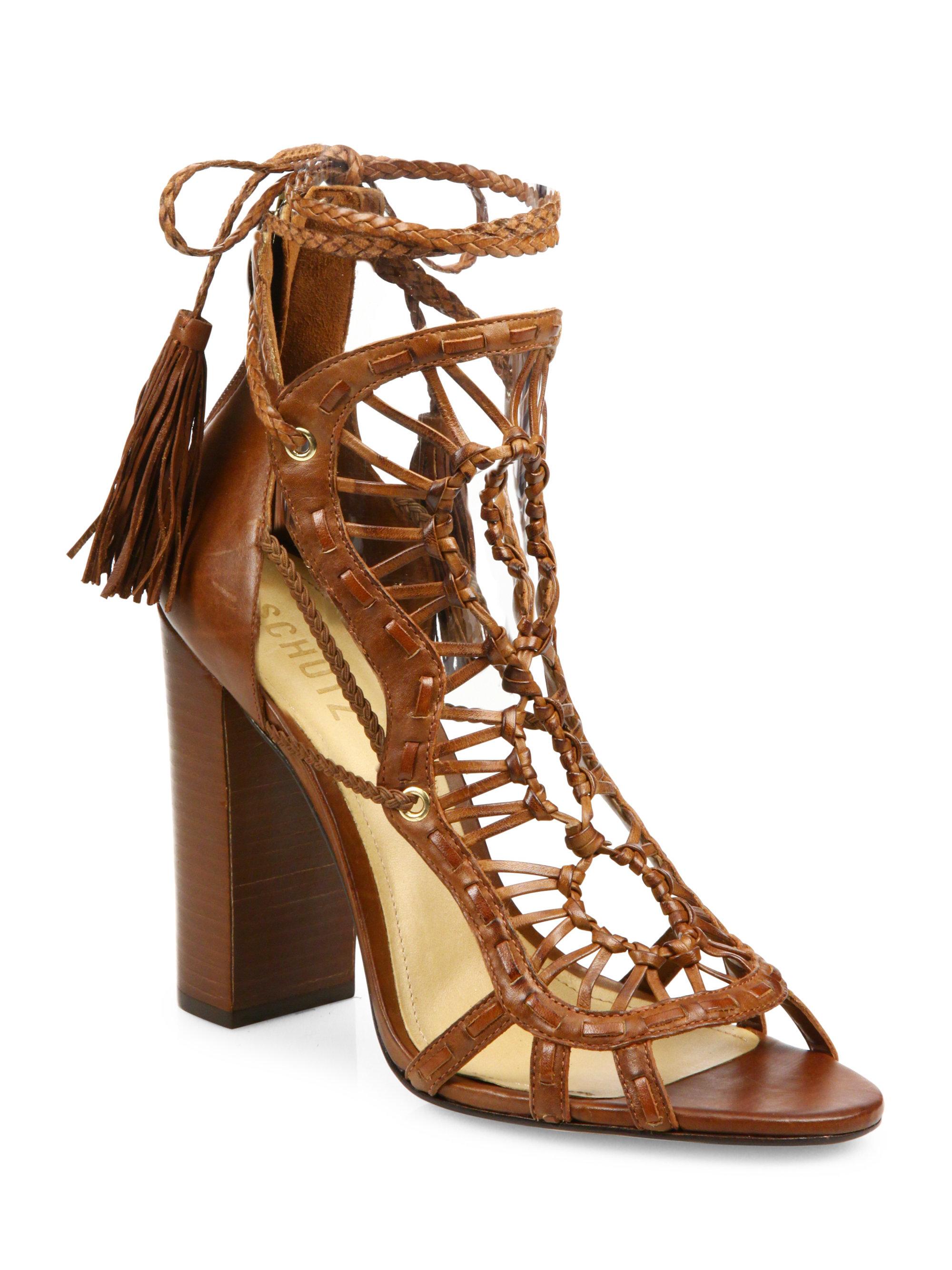 Schutz Dubai Sandals In Brown Lyst