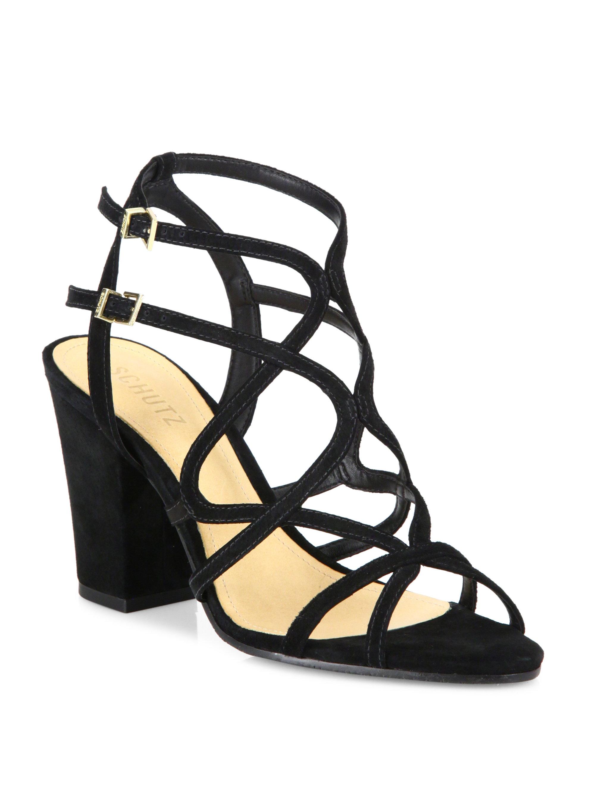 1b2142d9cd9 Lyst - Schutz Lynne Strappy Suede Block-heel Sandals in Black