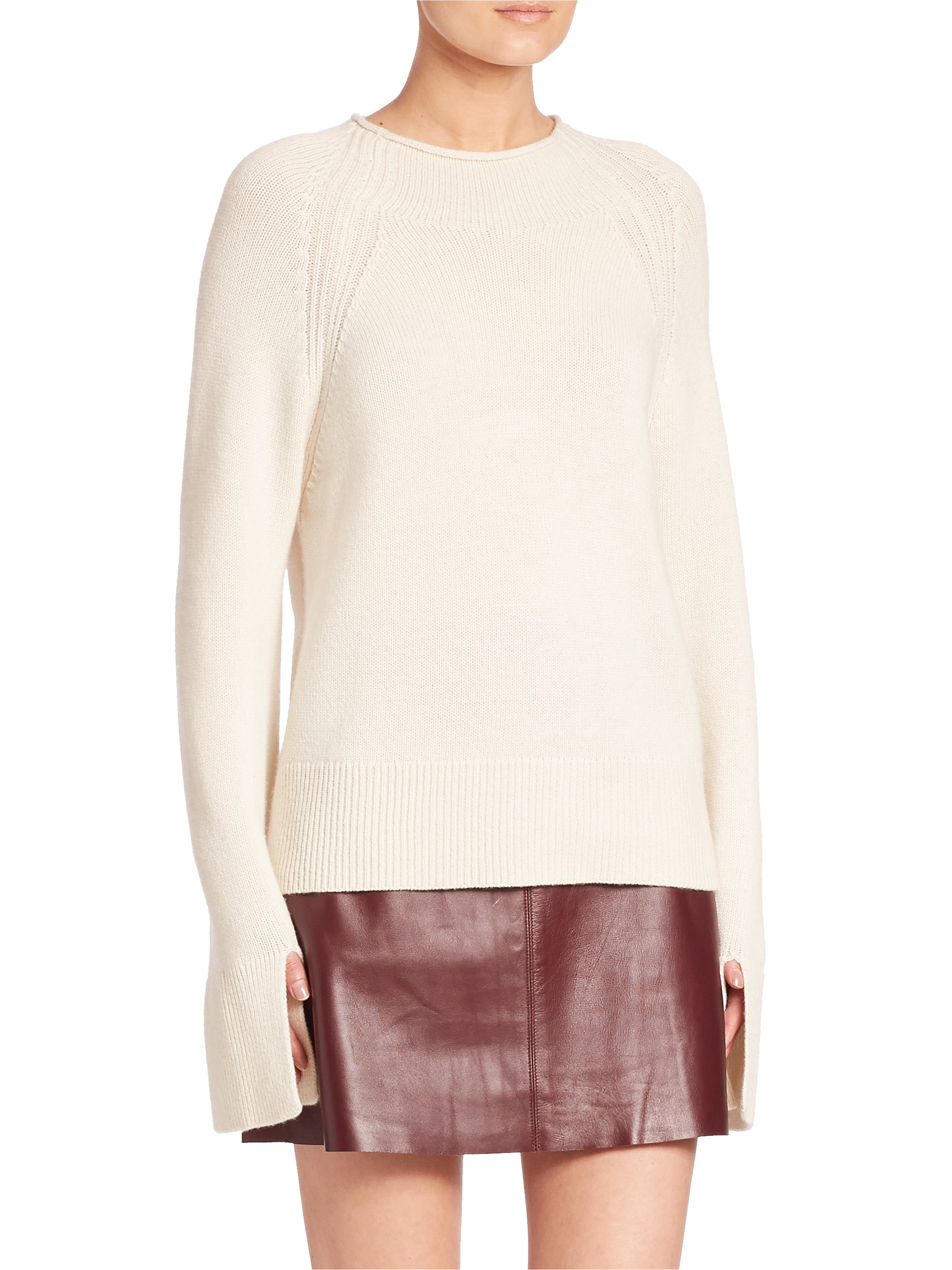 Theory Karinella High Low Cashmere Sweater In White Lyst