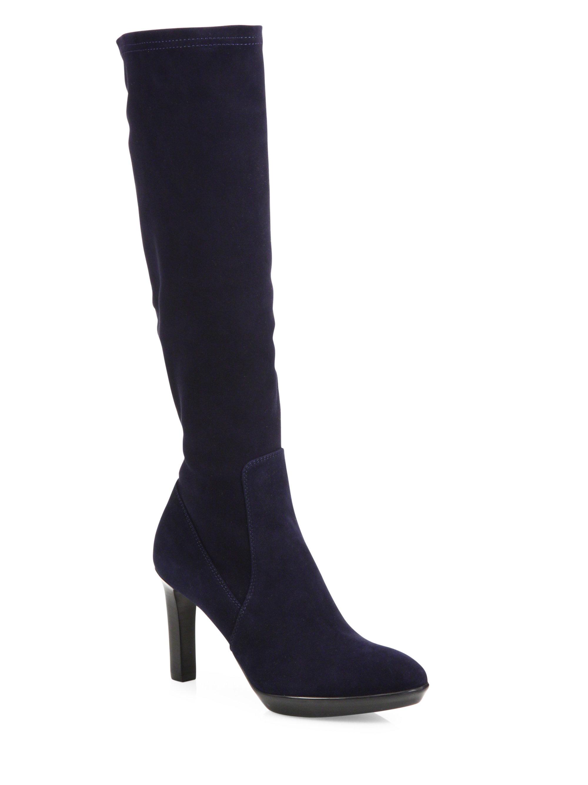 aquatalia rhumba stretch suede boots in blue lyst