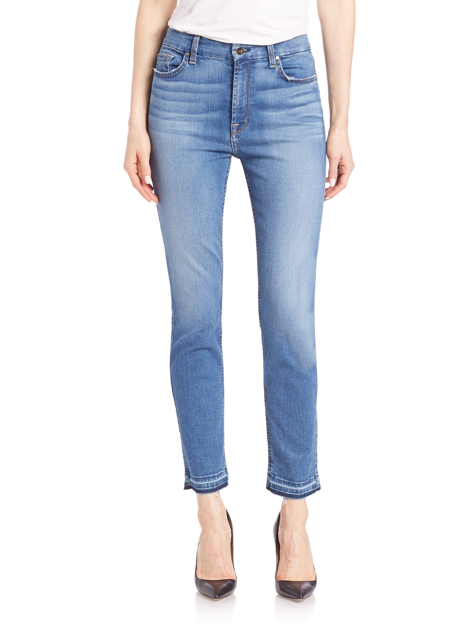 Jen7 Frayed Hem Ankle Skinny Jeans in Blue
