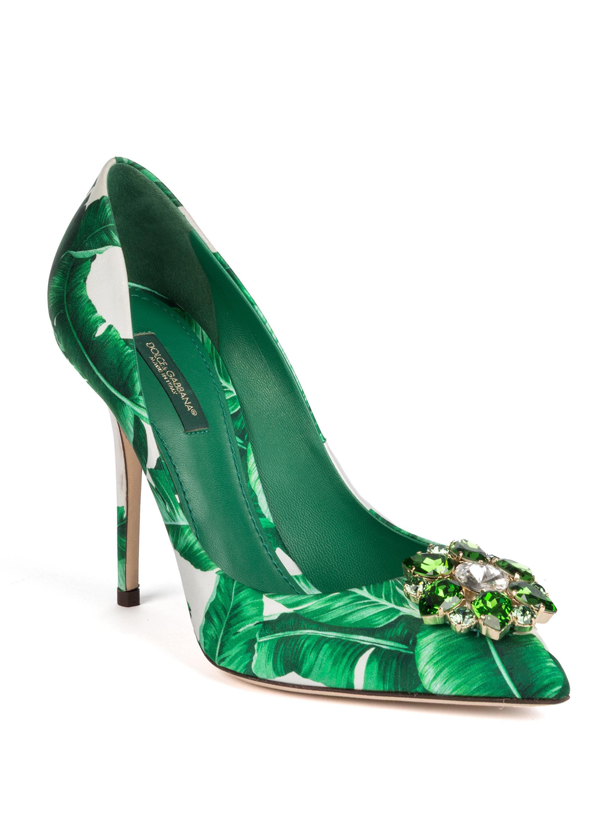 Lyst Dolce Amp Gabbana Banana Leaf Printed Leather Pumps