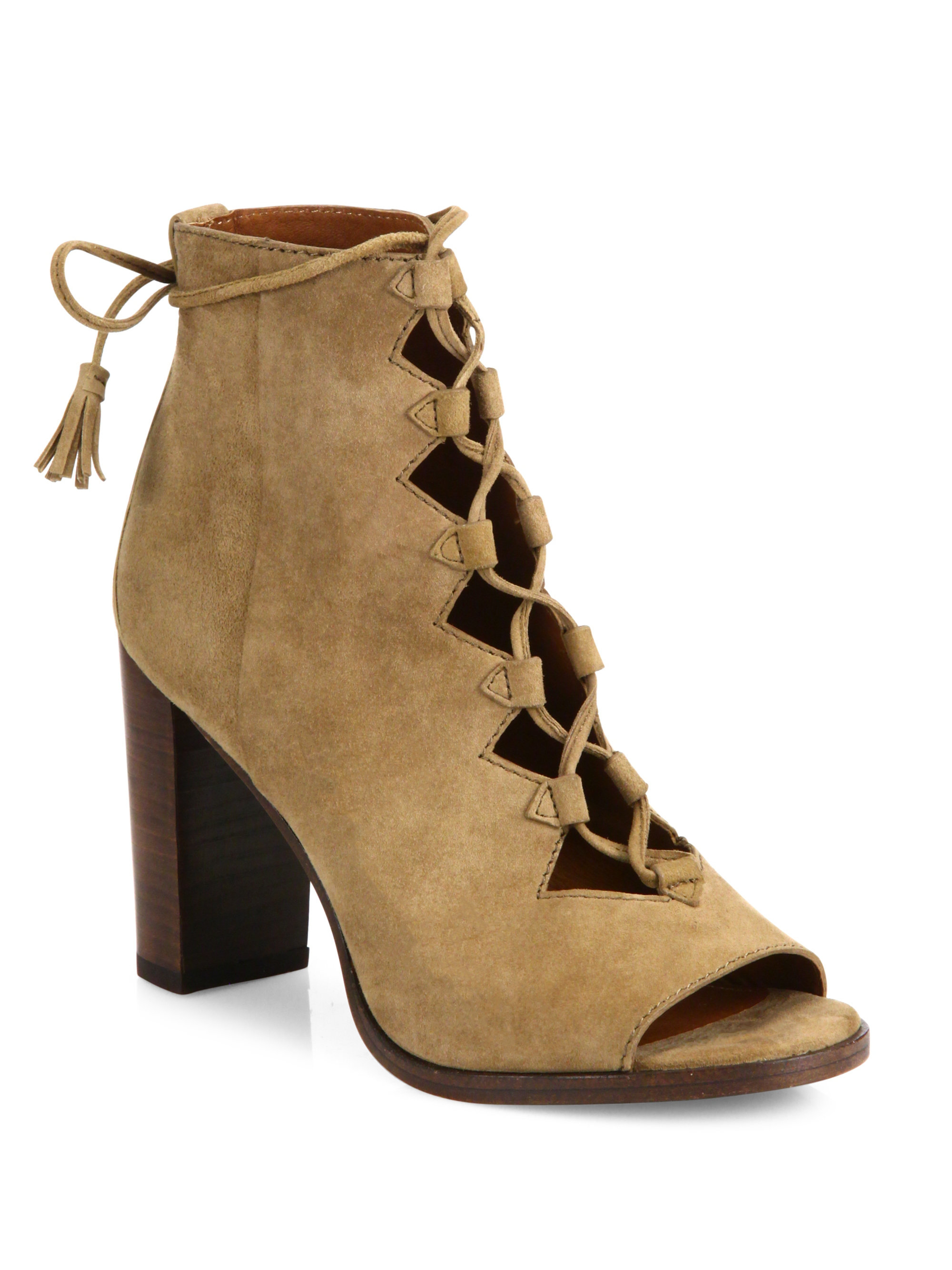 Frye Gabby Ghillie Suede Lace Up Booties Lyst