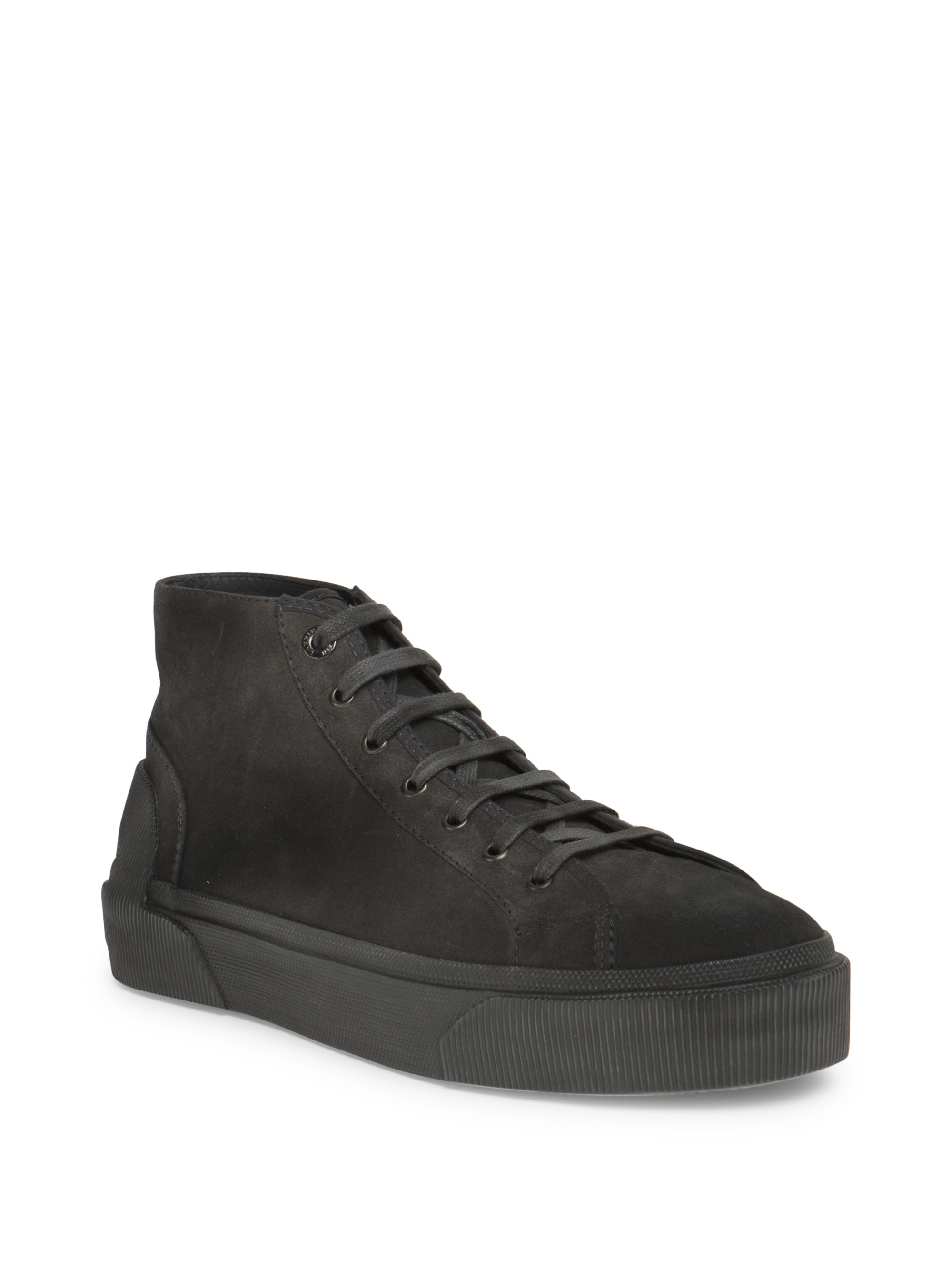 Lanvin Ankle-length Leather Sneakers in Gray for Men