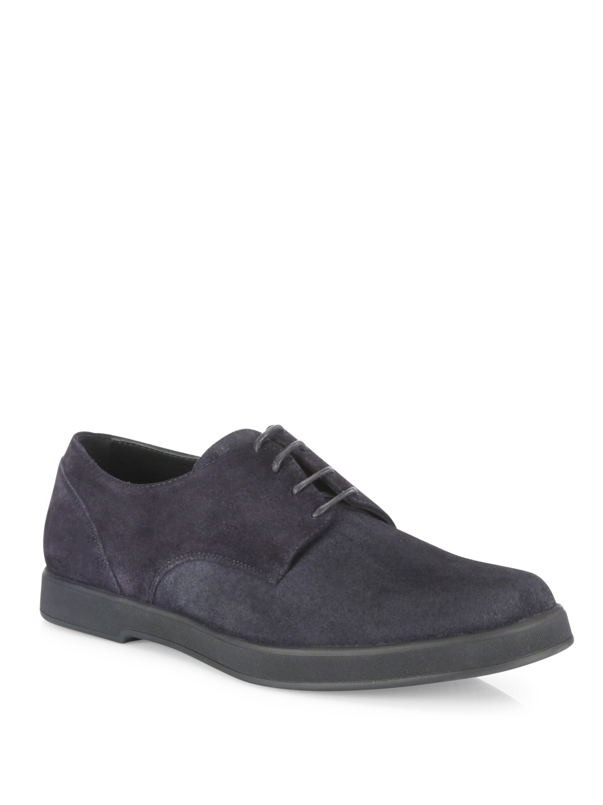 Ermenegildo Zegna Solid Suede Lace Up Shoes