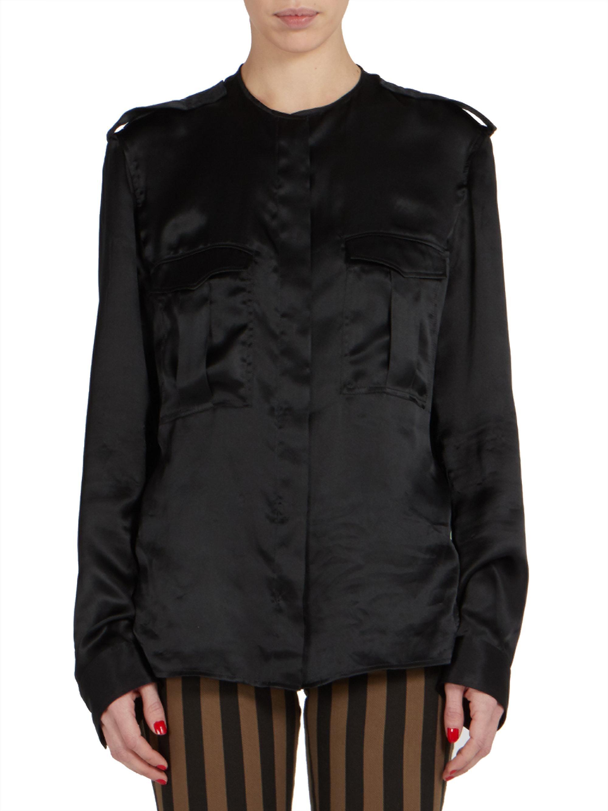 Haider ackermann long sleeve silk shirt in black lyst for Silk long sleeve shirt
