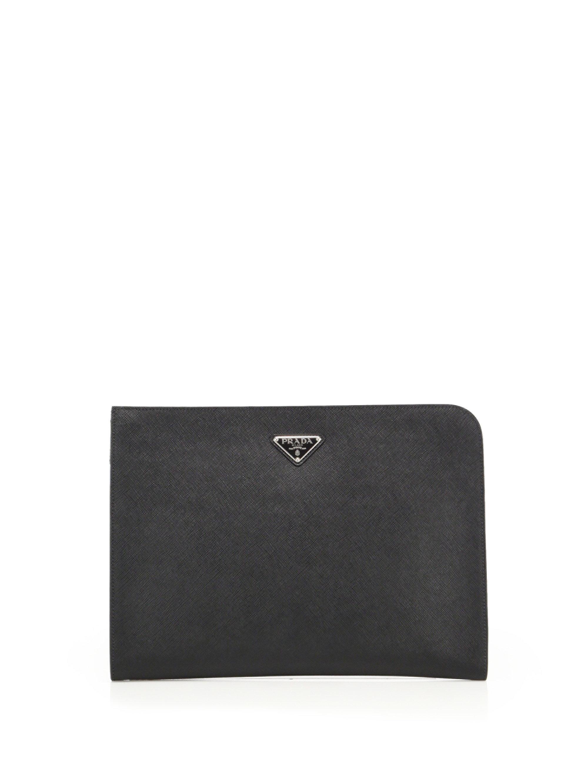 Prada leather document holder in black for men lyst for Prada mens document holder