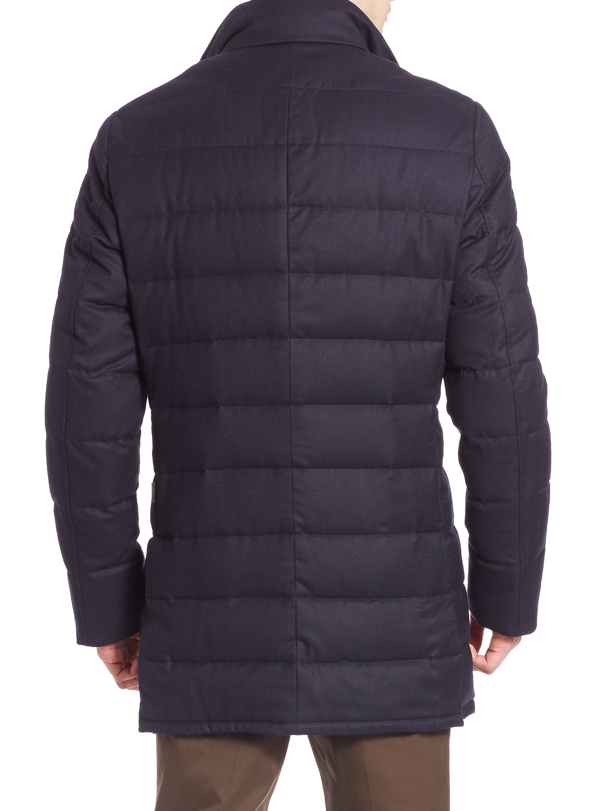 Moncler Quilted Wool Jacket In Blue For Men Lyst