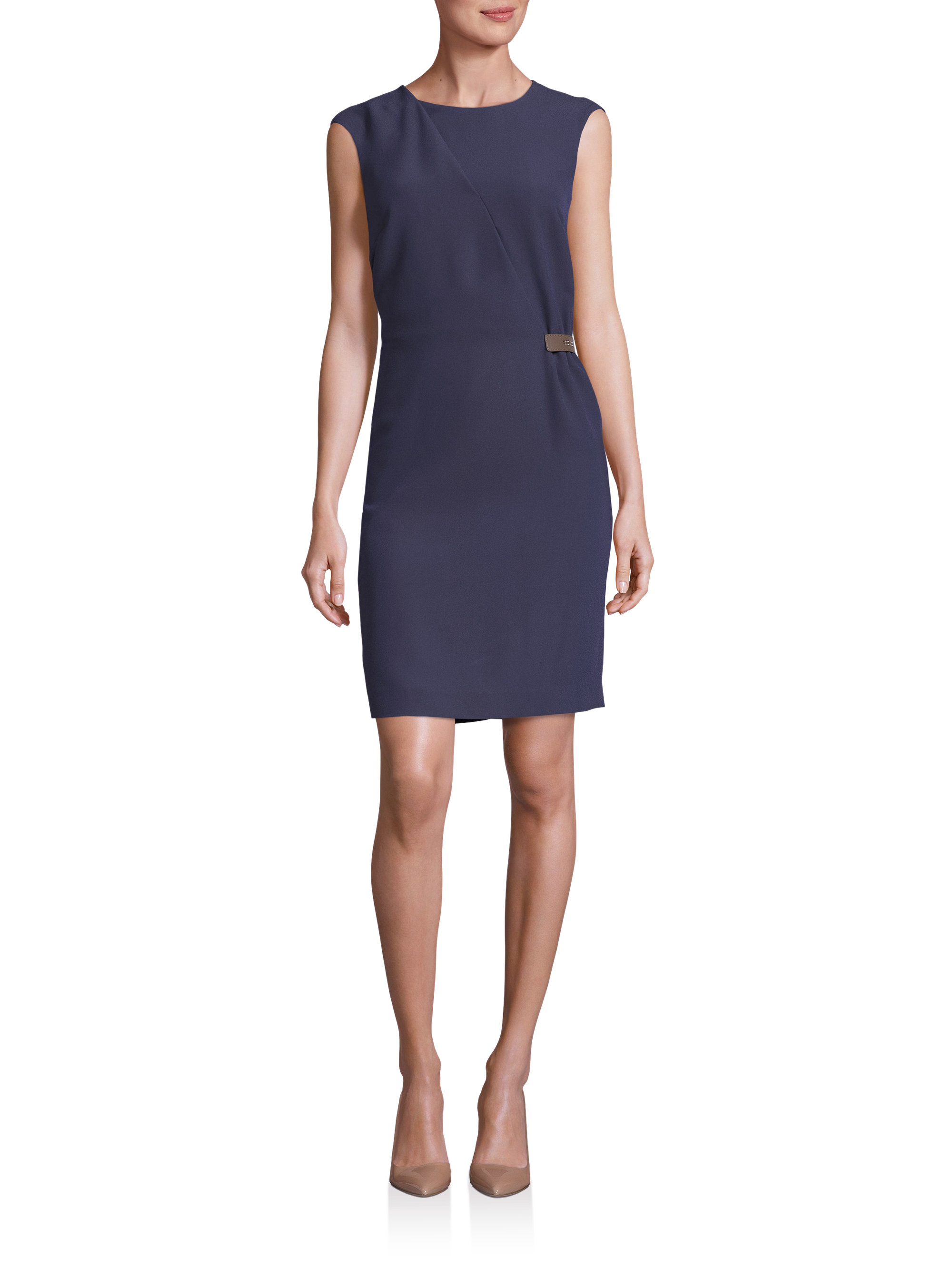 Peserico tab detail sheath dress in blue lyst for Saks fifth avenue wedding guest dresses