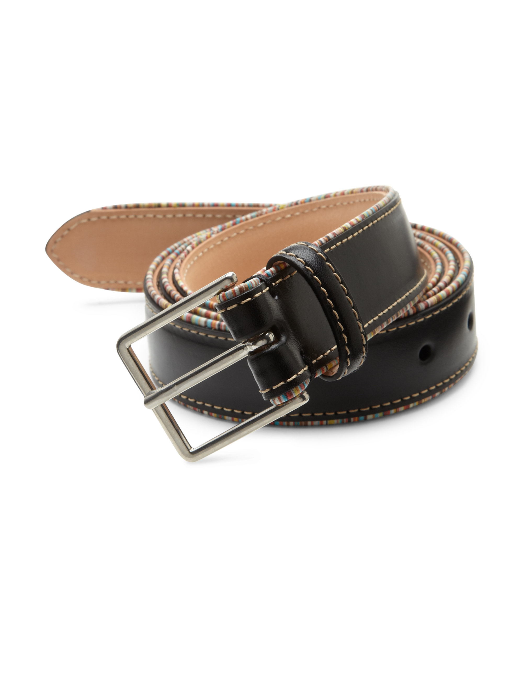 paul smith signature striped leather belt in black for