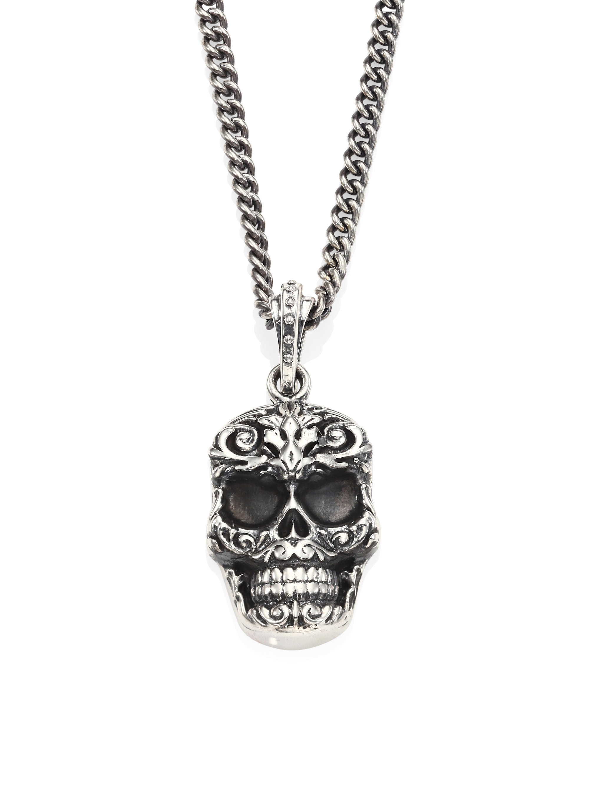 King baby studio sterling silver carved baroque skull for King baby jewelry sale