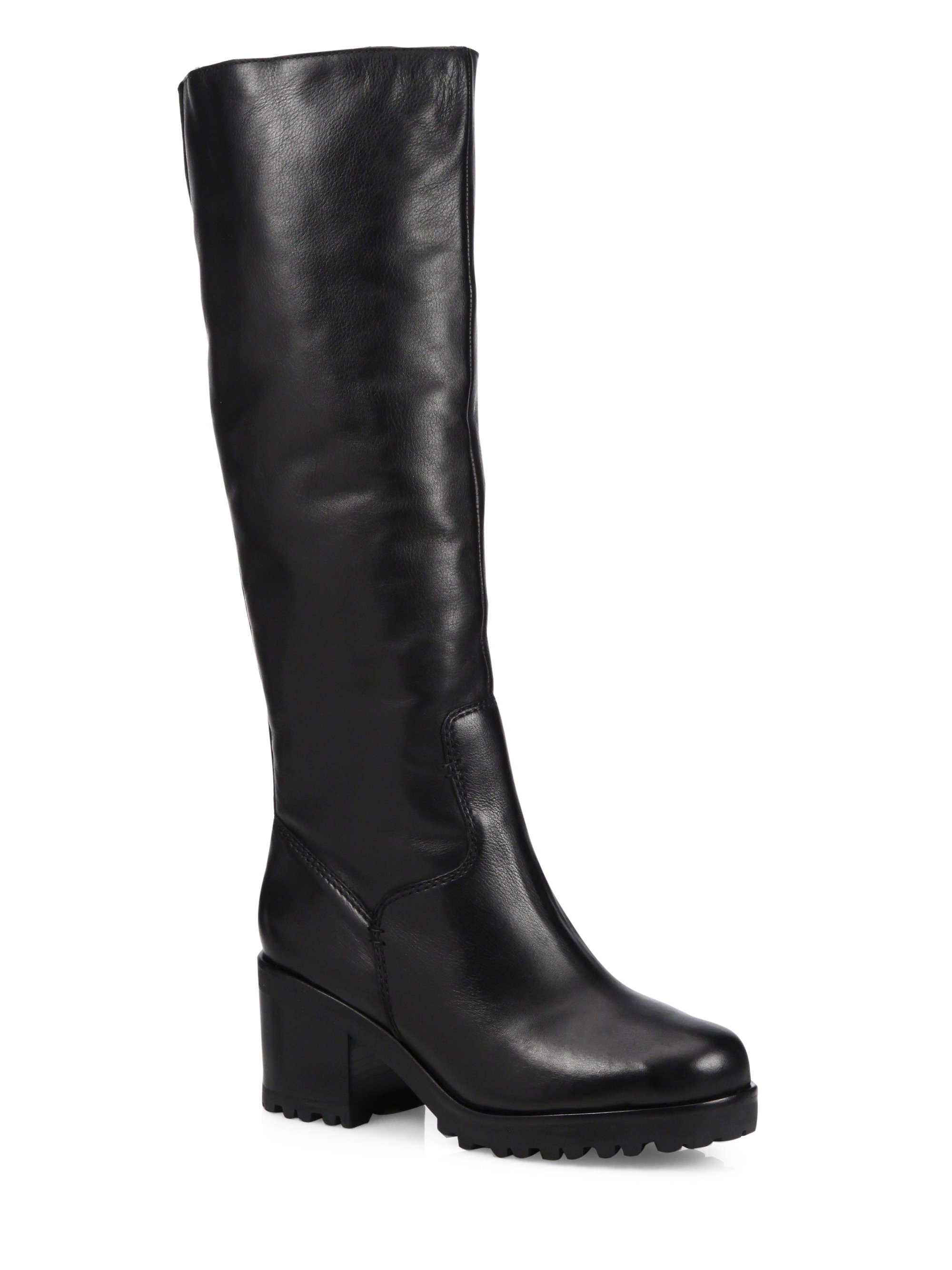 Schutz Kyara Lee Tall Leather & Faux Fur Boots in Black  Lyst