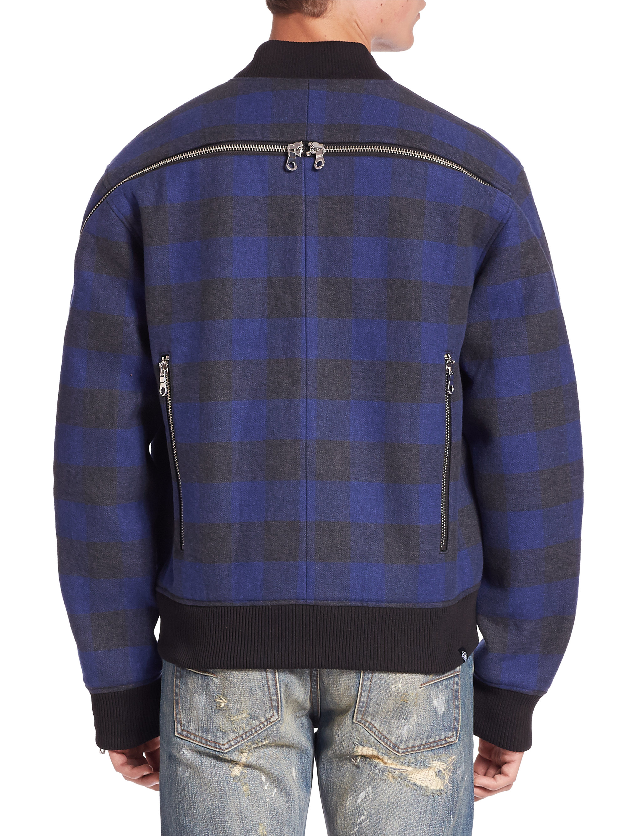Lyst Mostly Heard Rarely Seen Plaid Bomber Jacket In Blue For Men