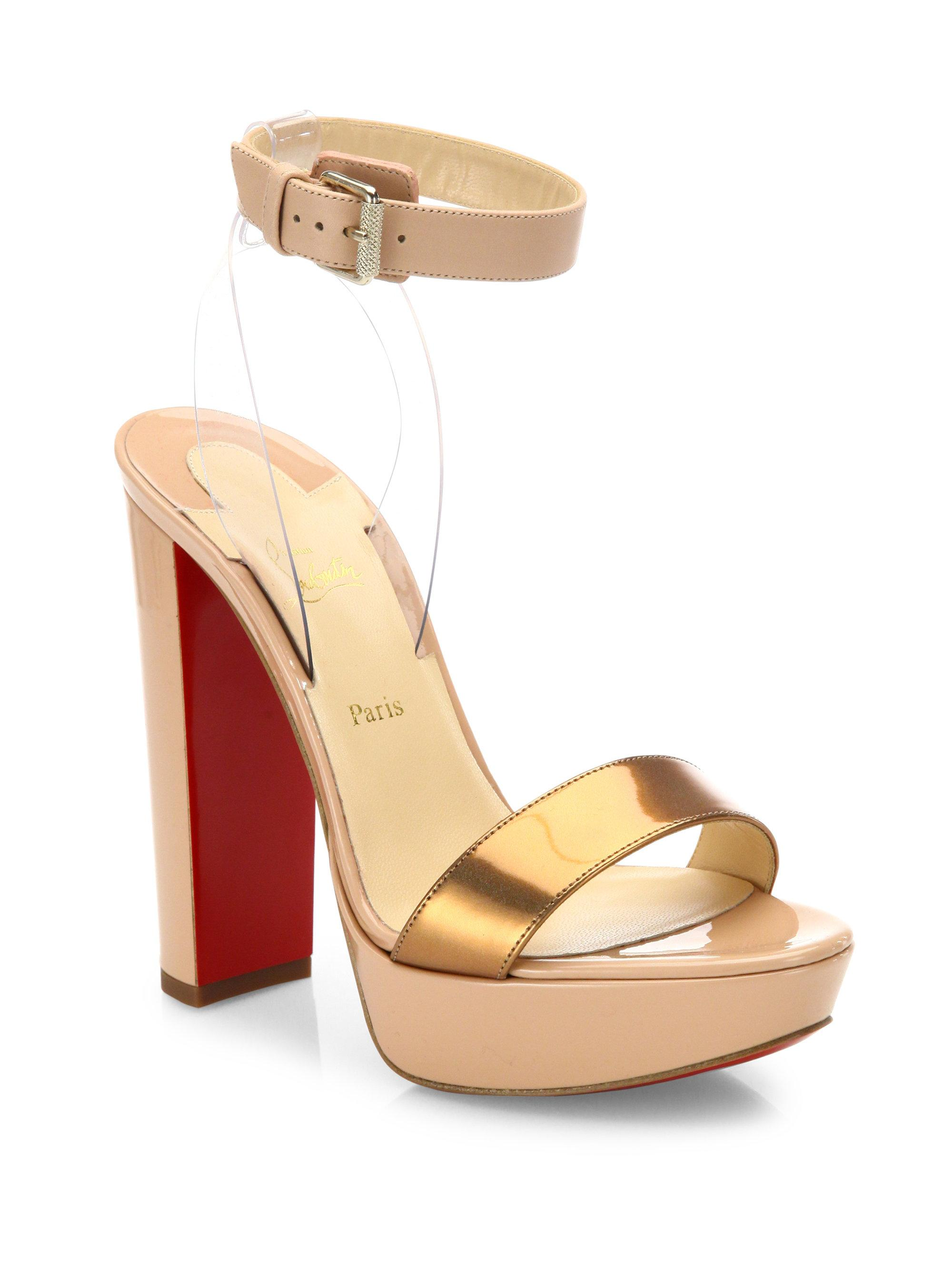 Christian Louboutin Patent Leather Ankle Strap Wedges footaction cheap price cheap sale latest collections 2iIoAbHg6