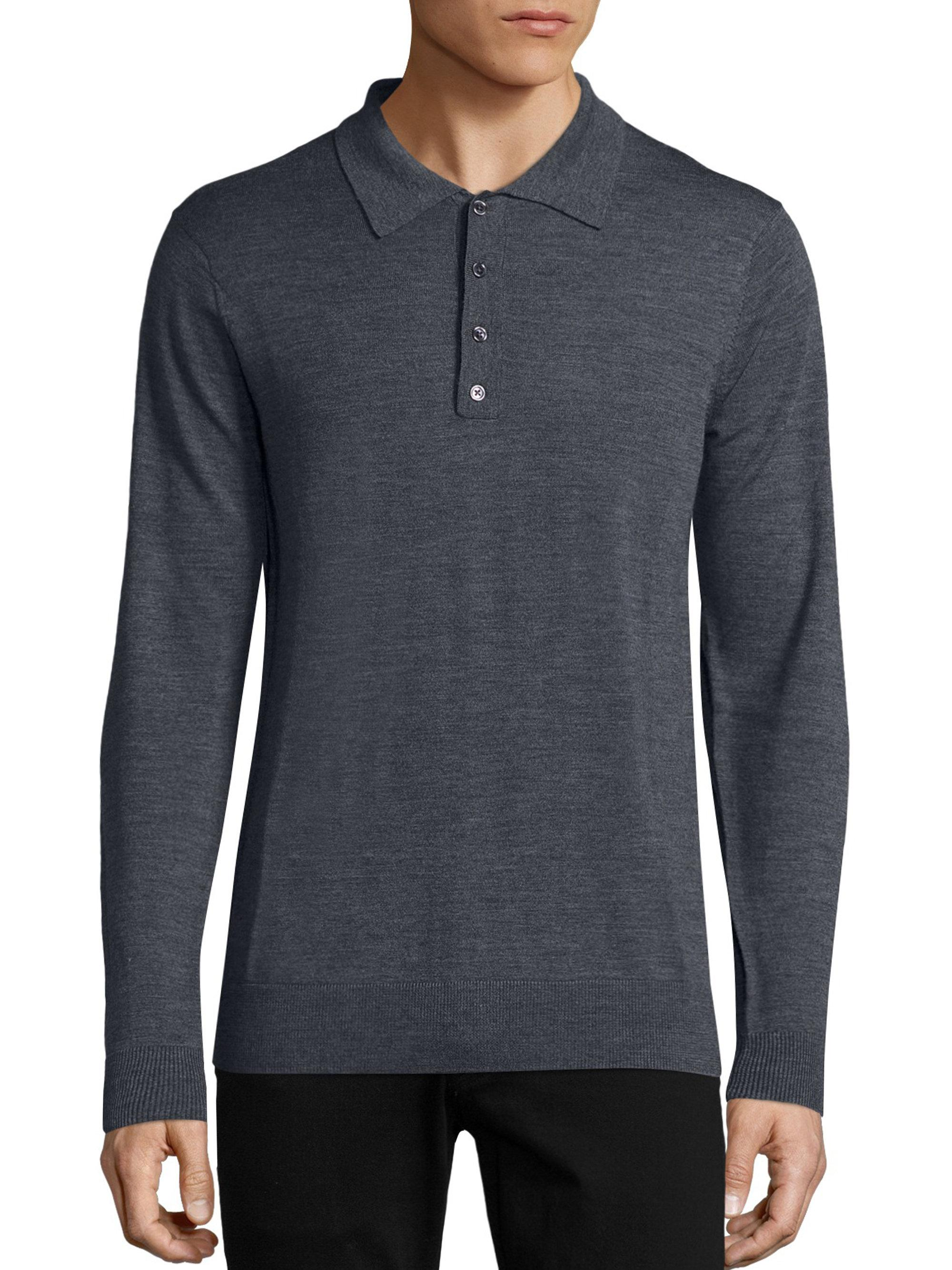 G/fore Long Sleeve Merino Wool Polo in Gray for Men
