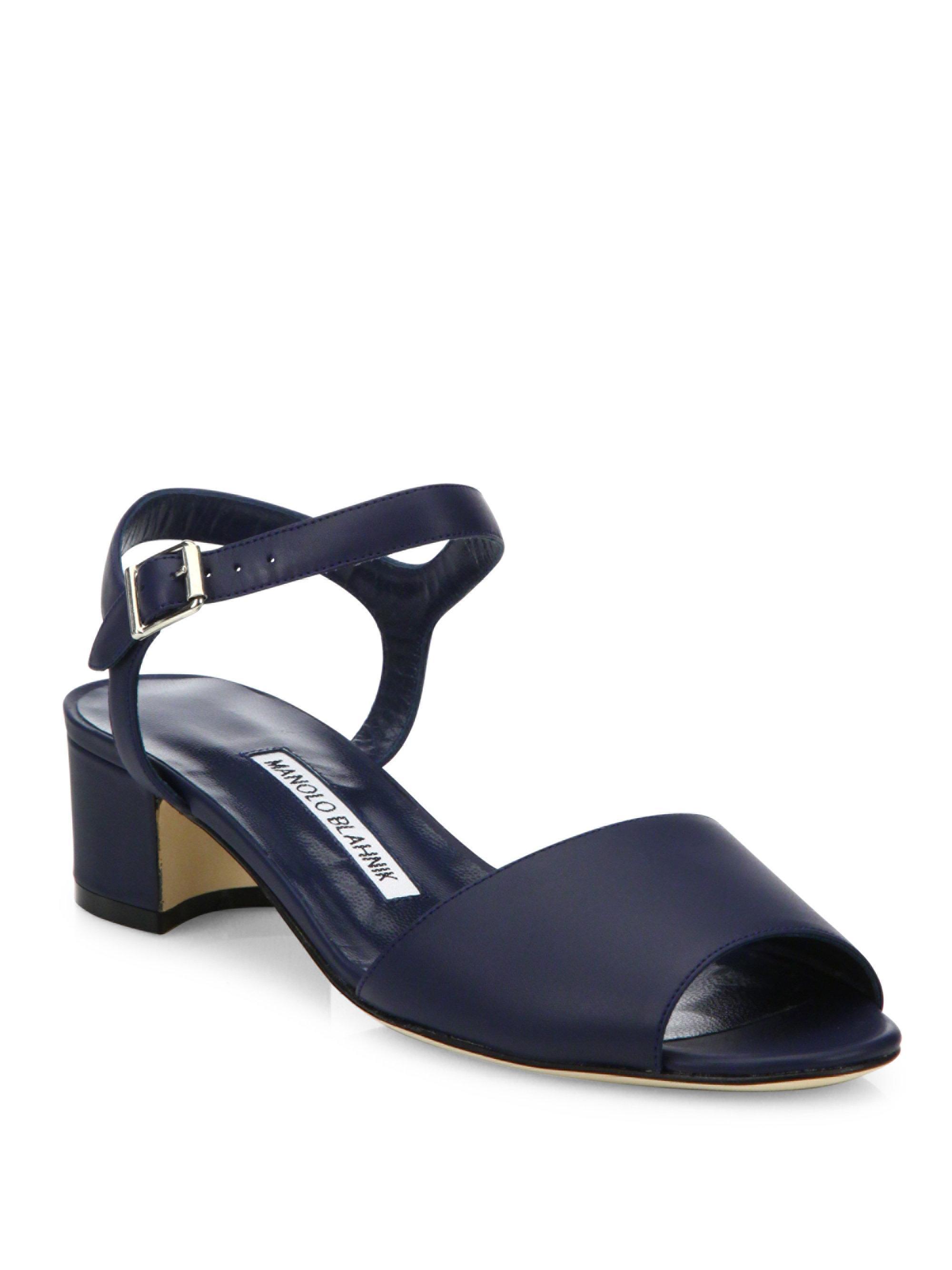 Lyst Manolo Blahnik Affian Leather Ankle Strap Block