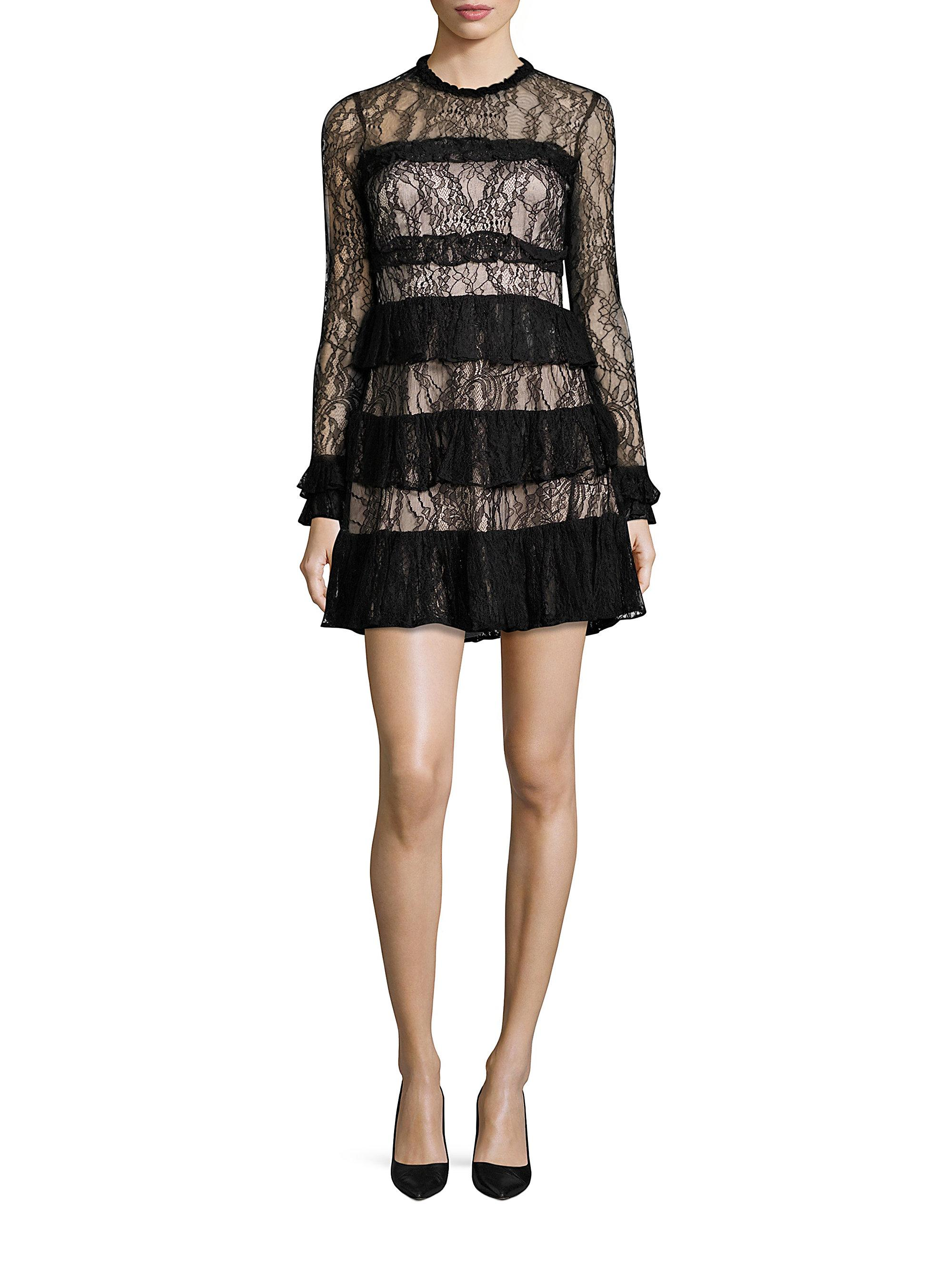2060c5e6a0f29 Lyst - Alexis Sally Tiered Ruffle Lace Dress in Black