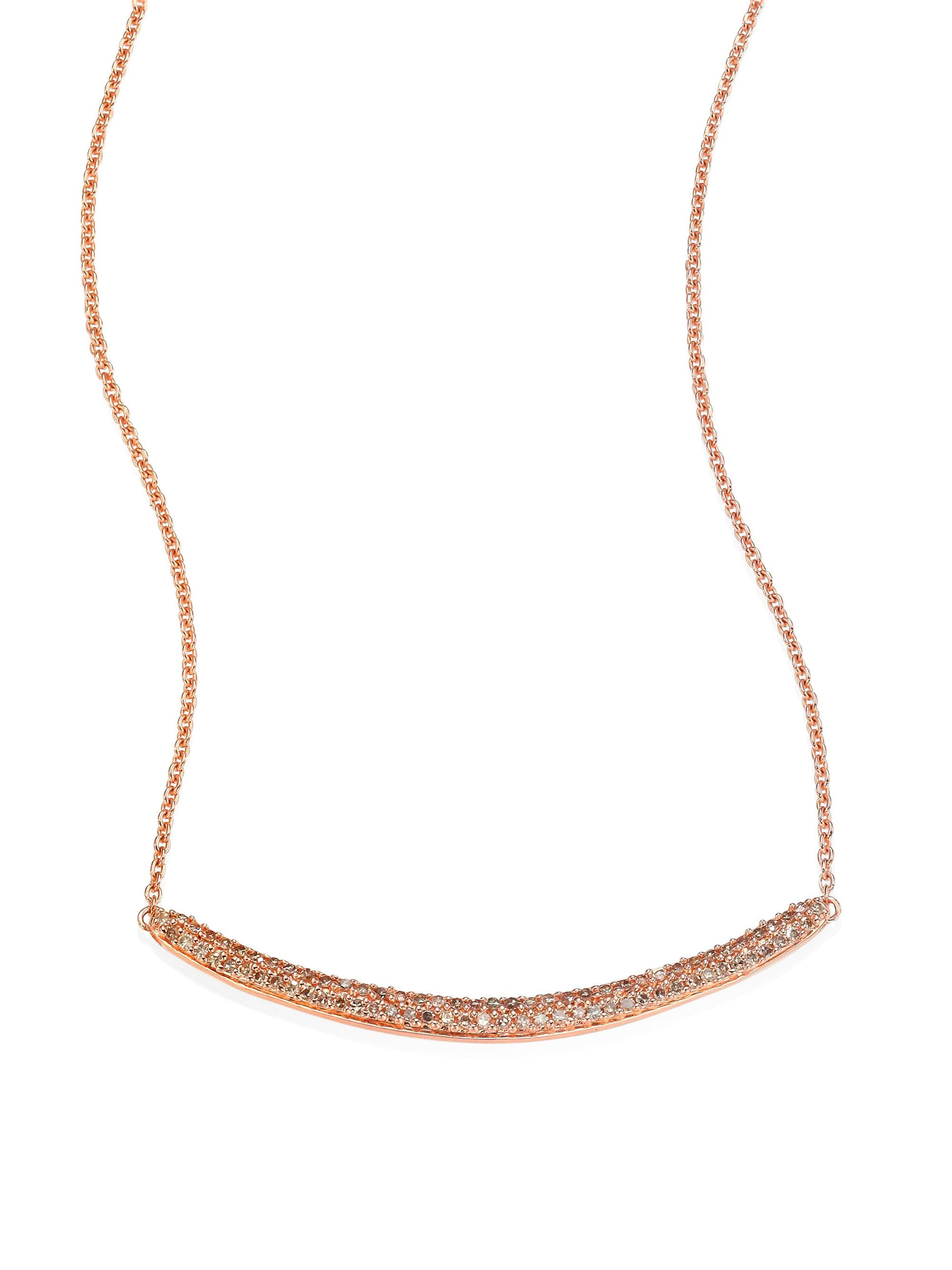 monica vinader skinny curve diamond necklace in metallic