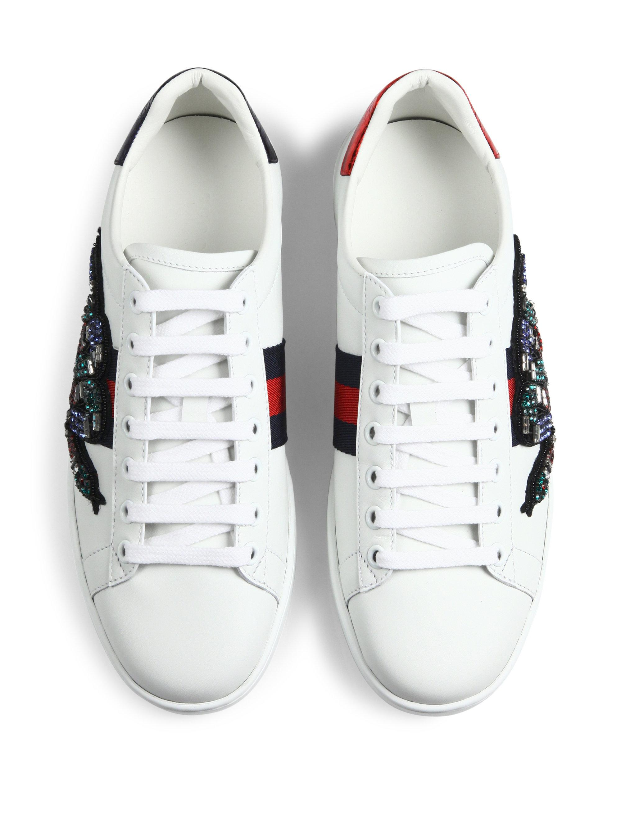 Gucci New Ace Crystal-embroidered Snake