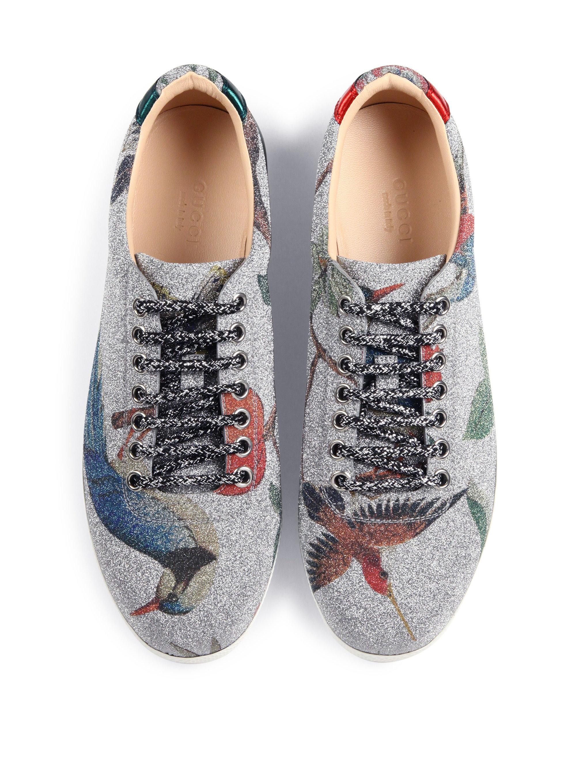 07ce4f8ab5f5d Lyst - Gucci Bambi Tian-print Glitter Sneakers in Gray
