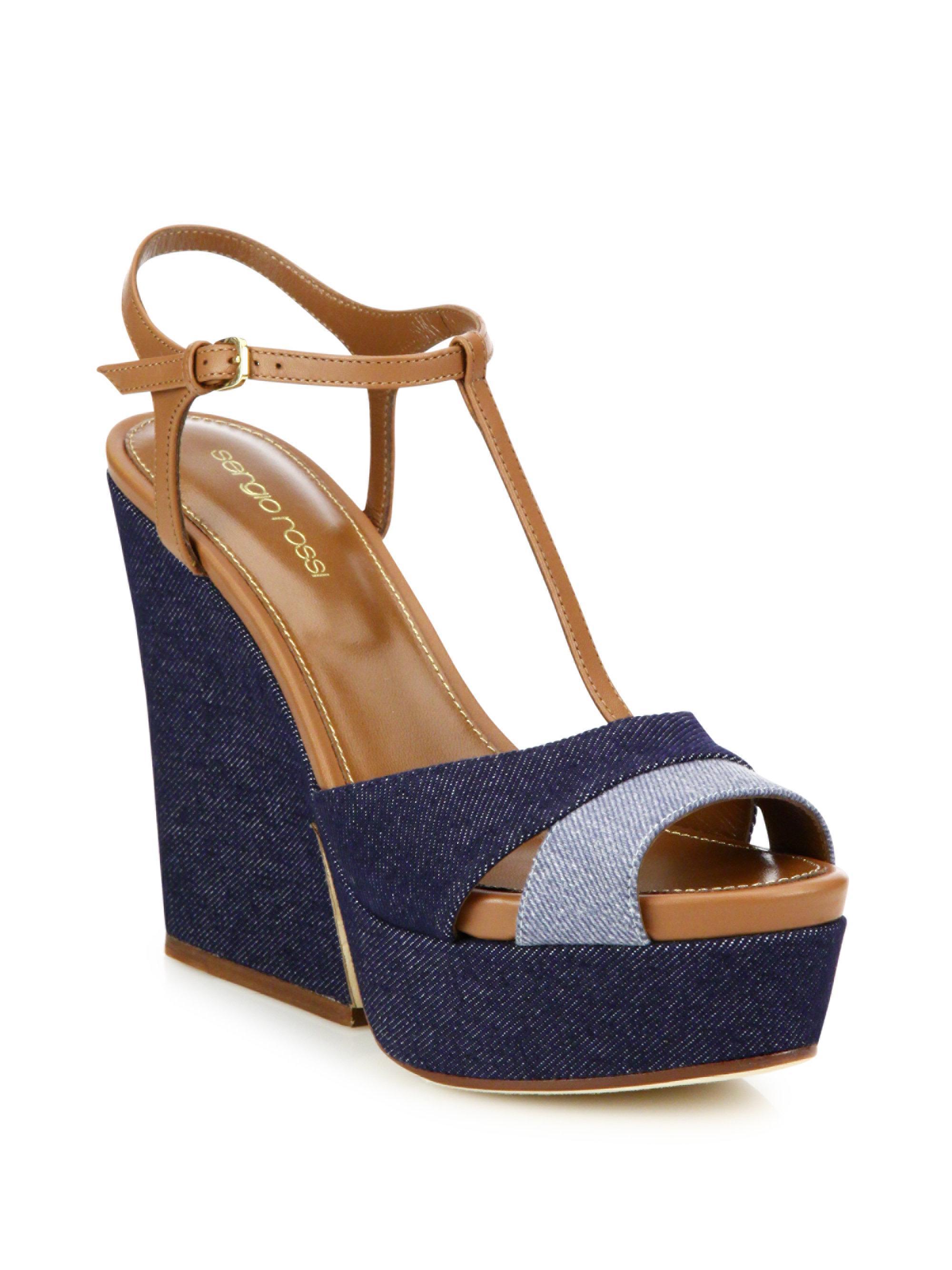 Lyst Sergio Rossi Edwige Denim T Strap Wedge Sandal In Blue