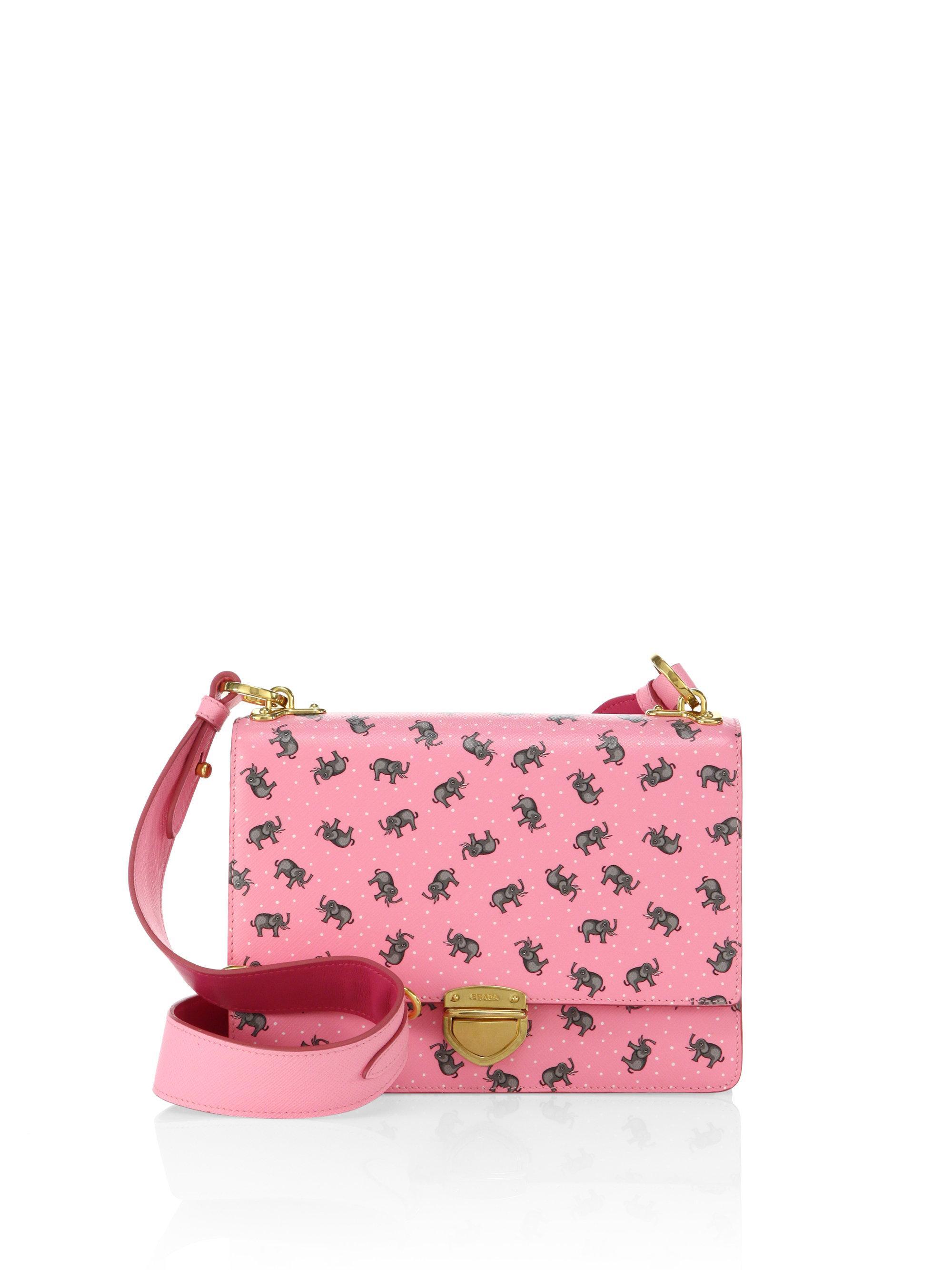 ... italy lyst prada elephant saffiano leather crossbody bag in pink b8c47  62bf3 release date prada backpack tote purse weekender duffle ... 9b6fd192d2