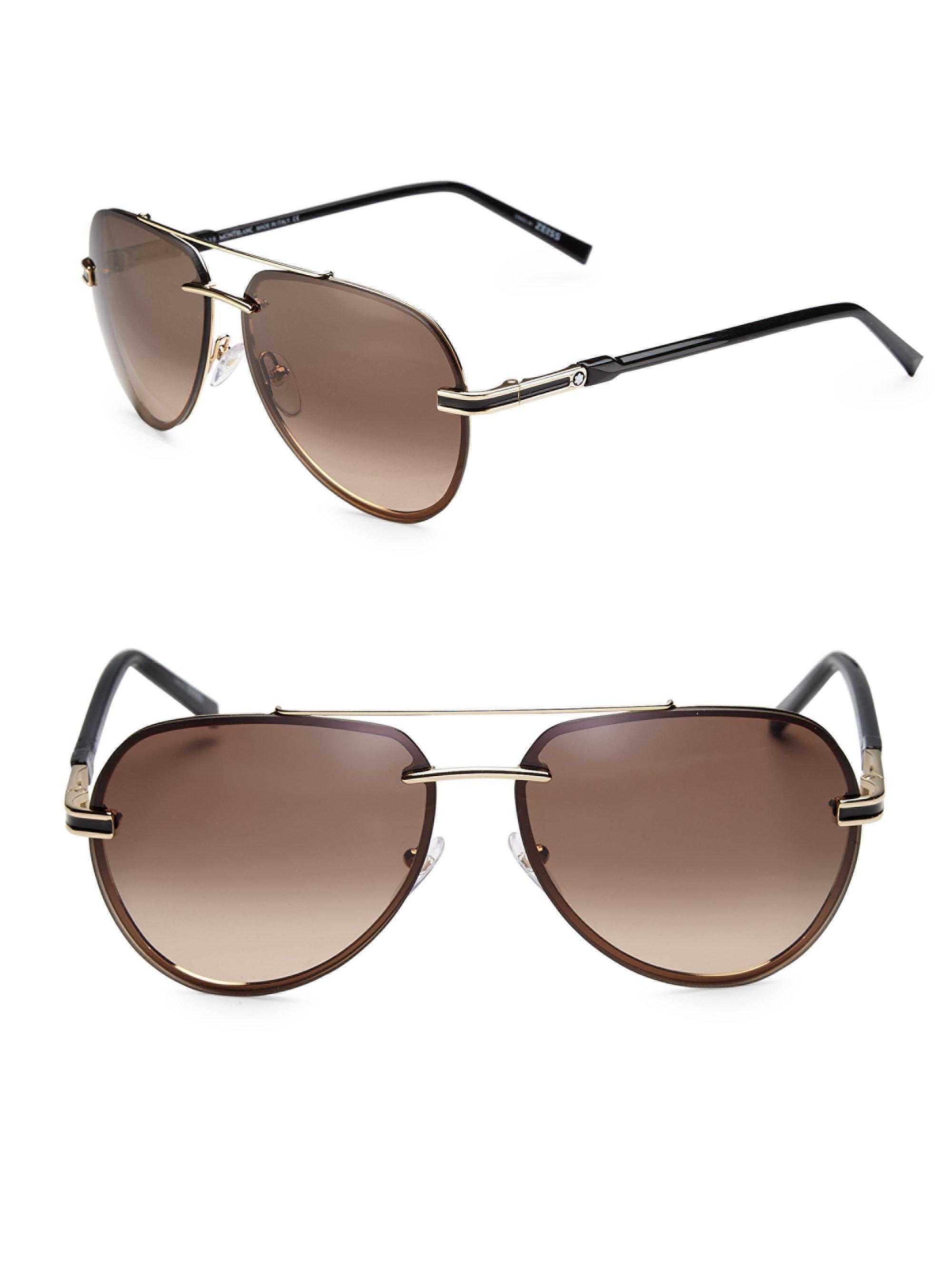 Rimless Aviator Sunglasses : Montblanc 60mm Rimless Aviator Sunglasses in Metallic Lyst