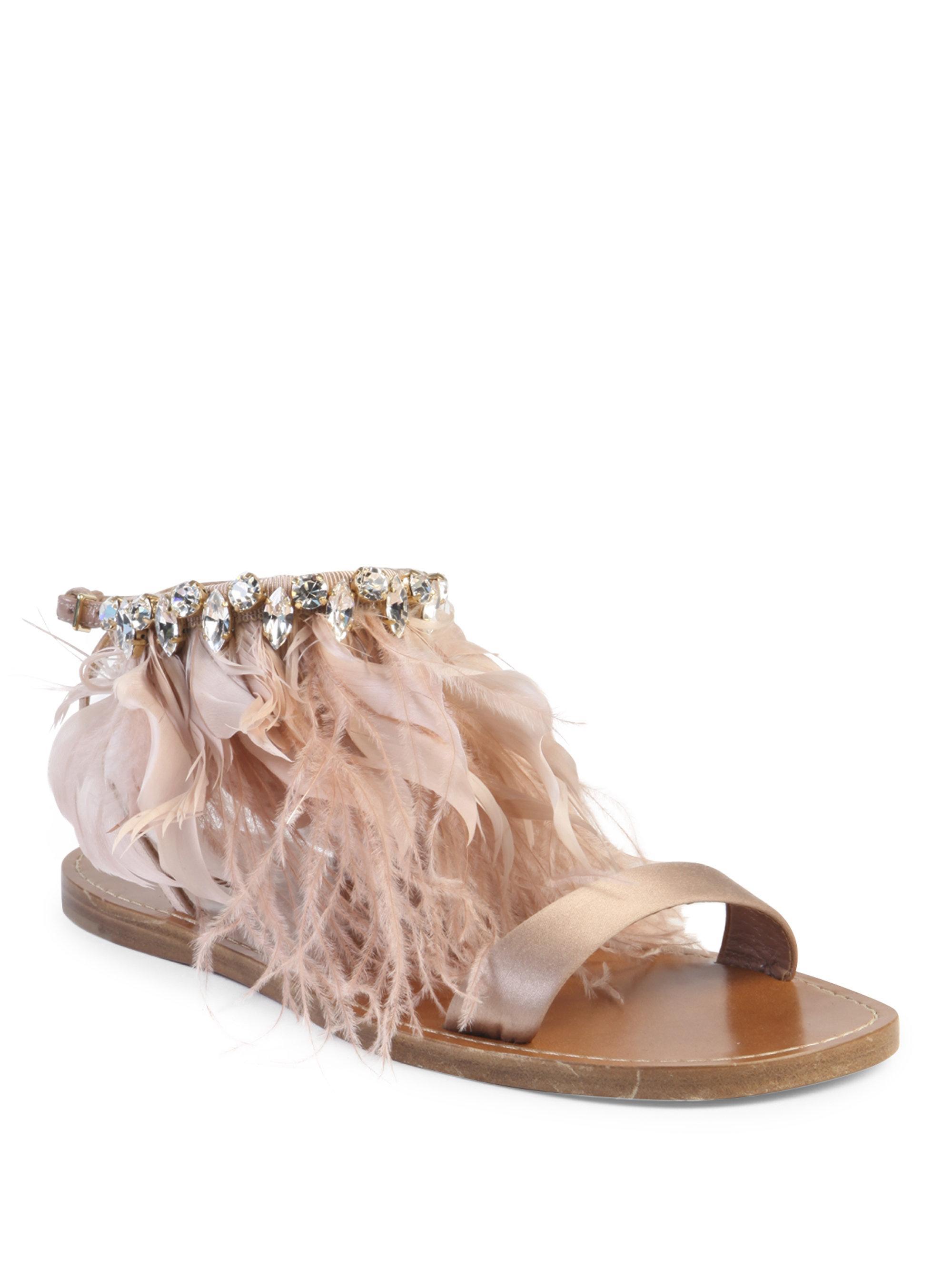 530f3a87ff5c87 Lyst - Miu Miu Jeweled Feather   Satin Sandal in Pink