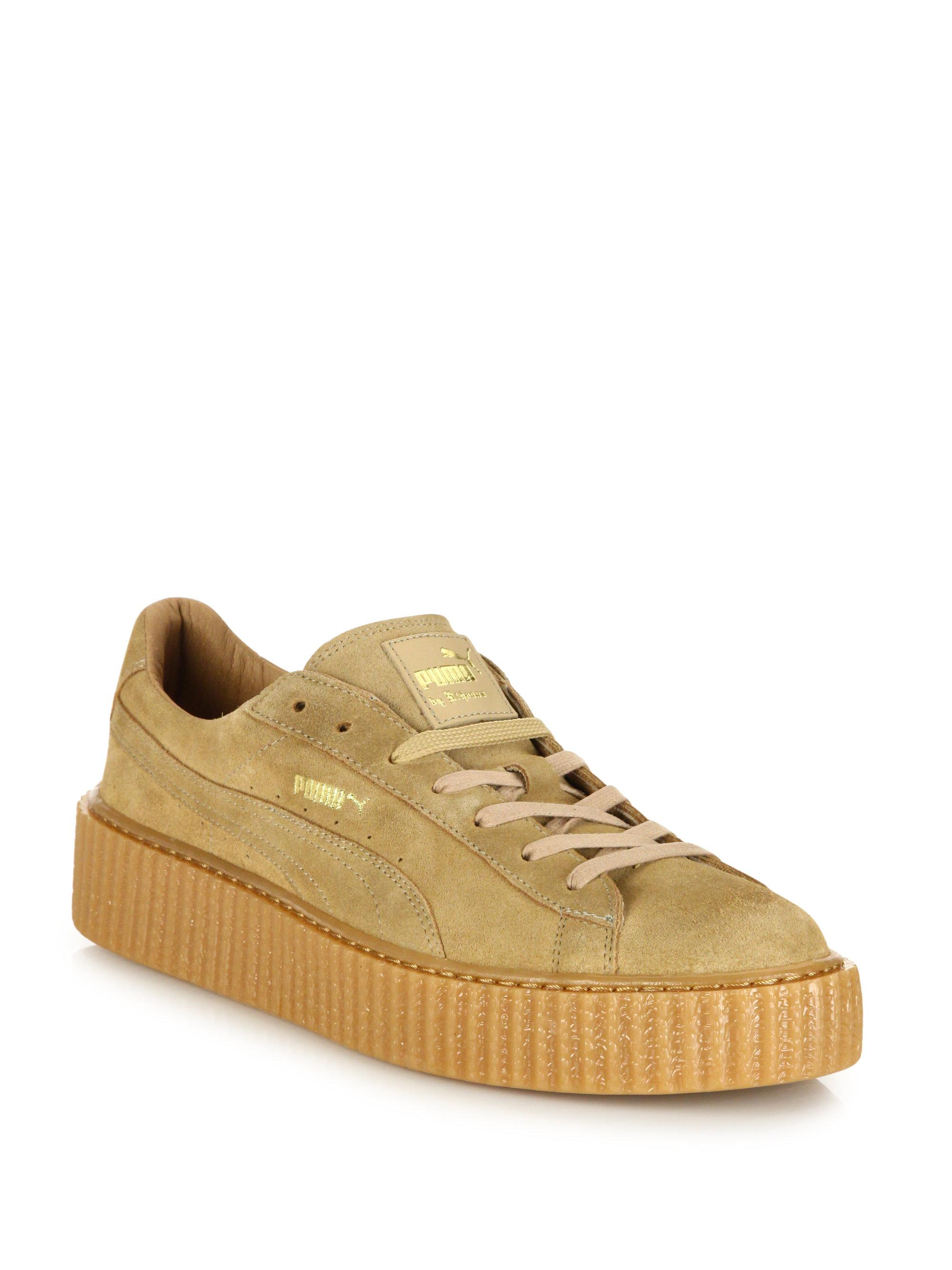 puma by rihanna suede creepers in brown lyst