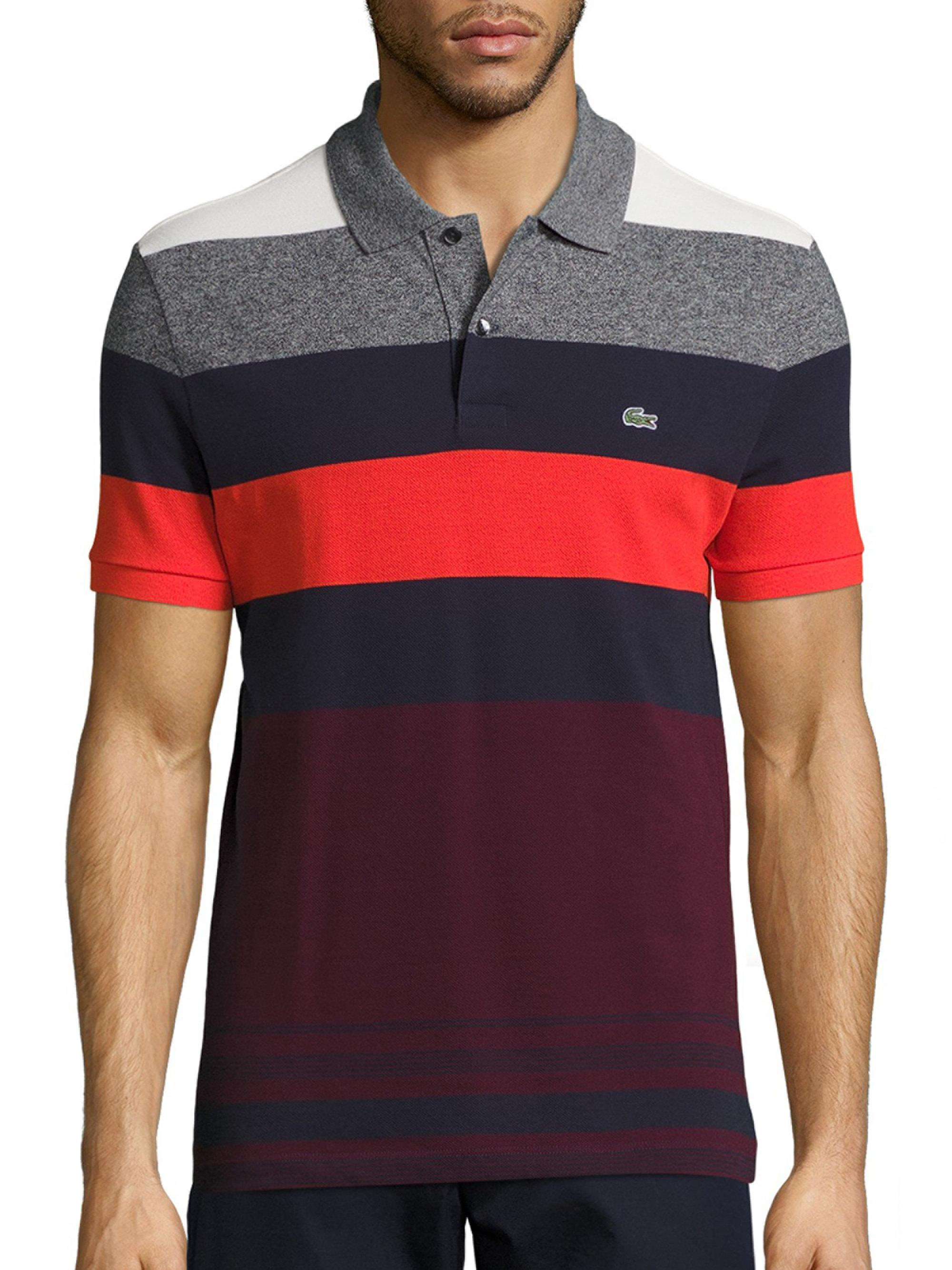 Lacoste short sleeve bold stripe pique polo in red for men for Lacoste stripe pique polo shirt