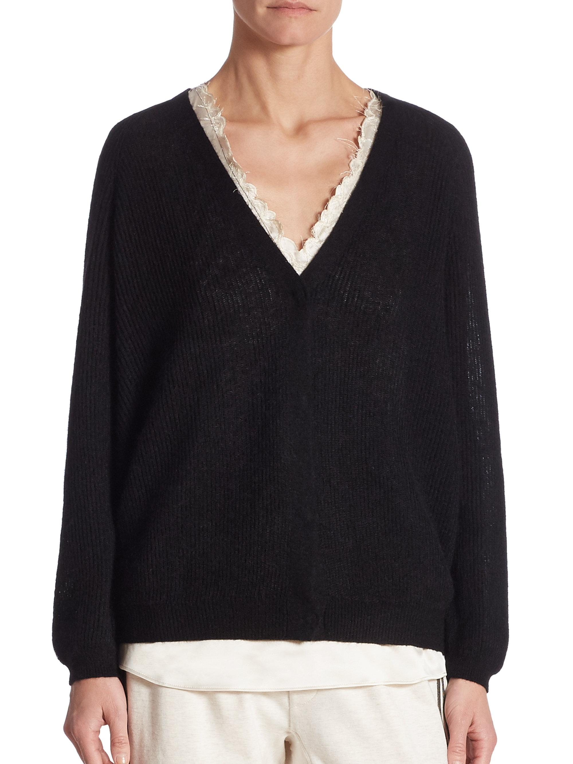 Brunello cucinelli Wool-blend V-neck Cardigan in Black | Lyst
