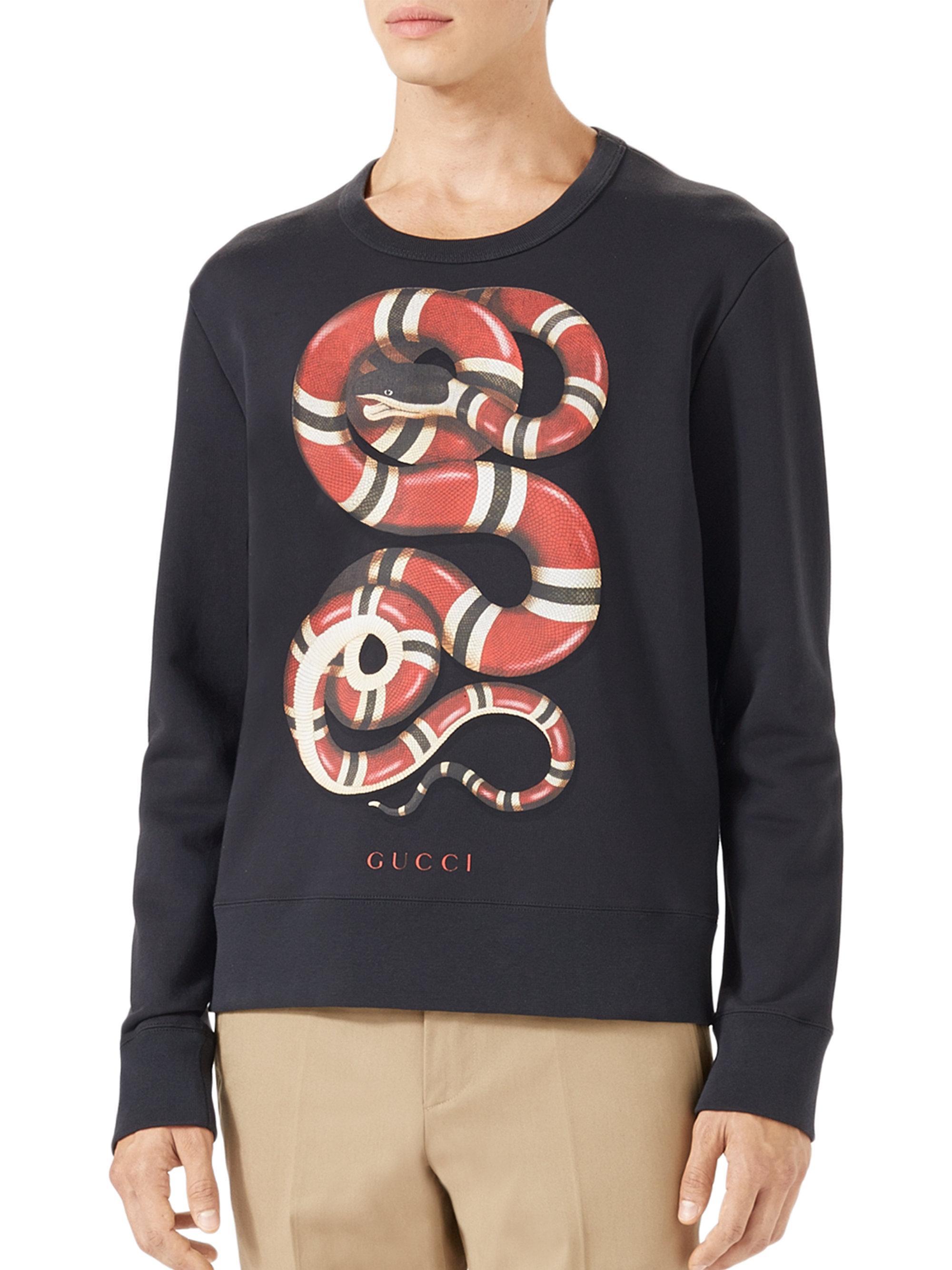 535a11d9aaf Lyst - Gucci Snake Print Cotton Sweatshirt in Black