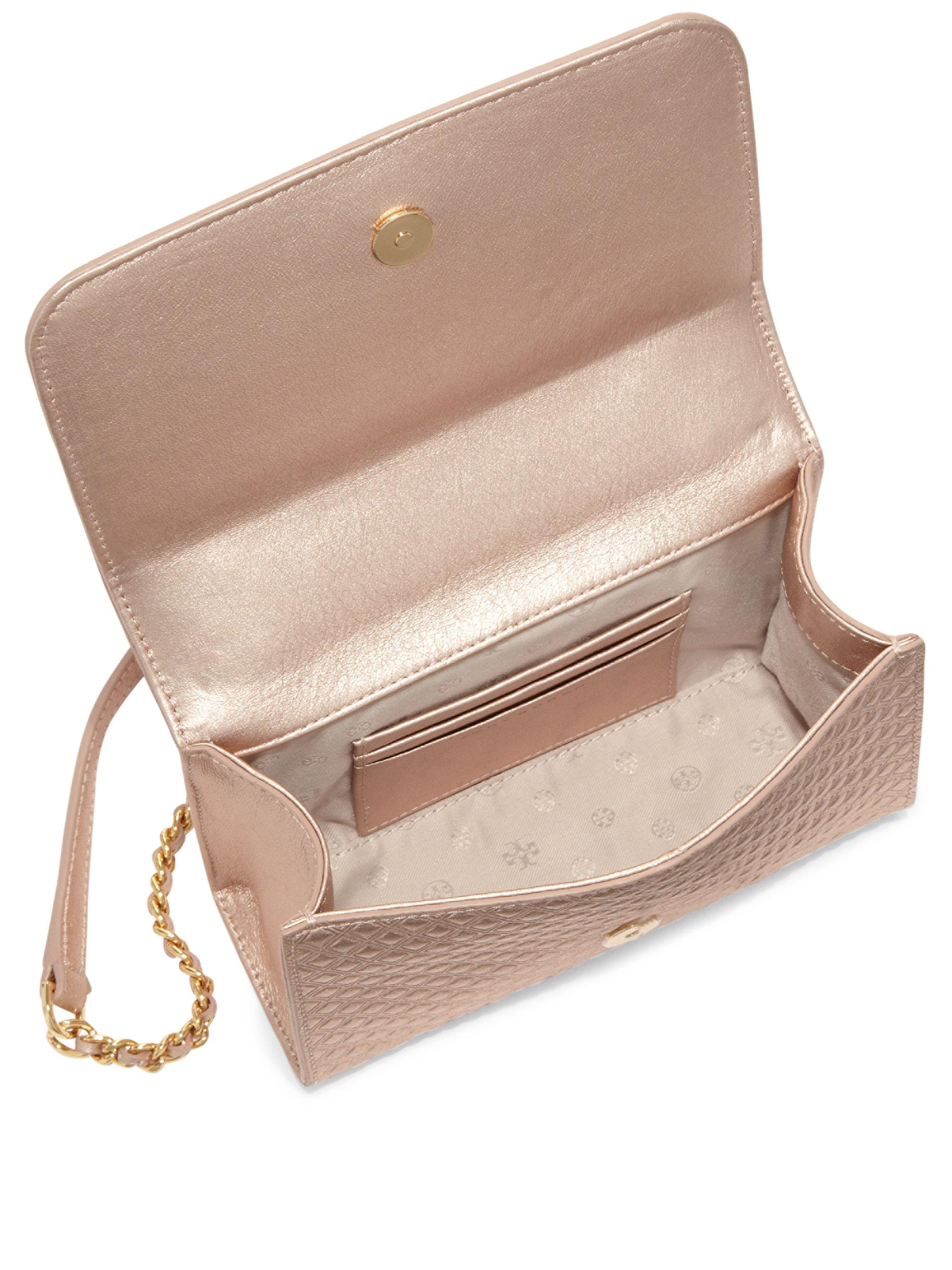 77132742741e Lyst - Tory Burch Marion Embossed Metallic Leather Chain Crossbody ...