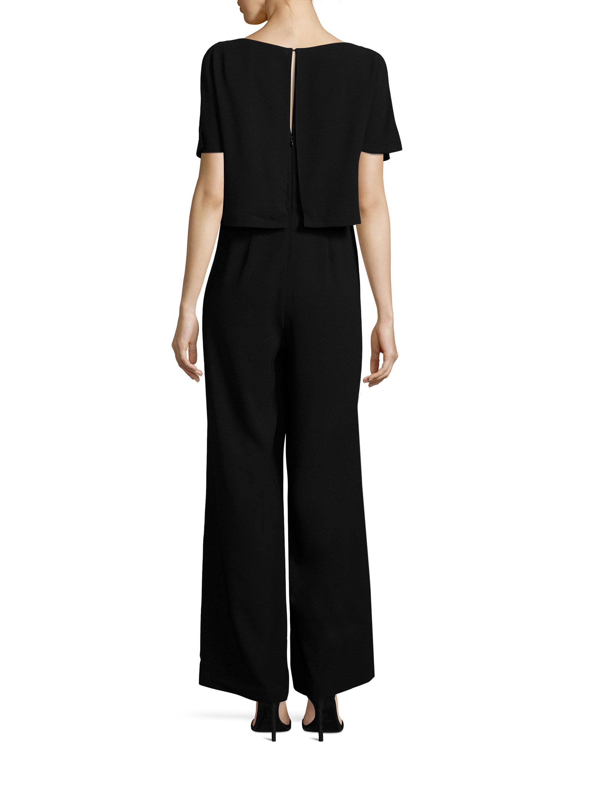 cb6b2527340 Lyst - Polo Ralph Lauren Crepe V-neck Jumpsuit in Black